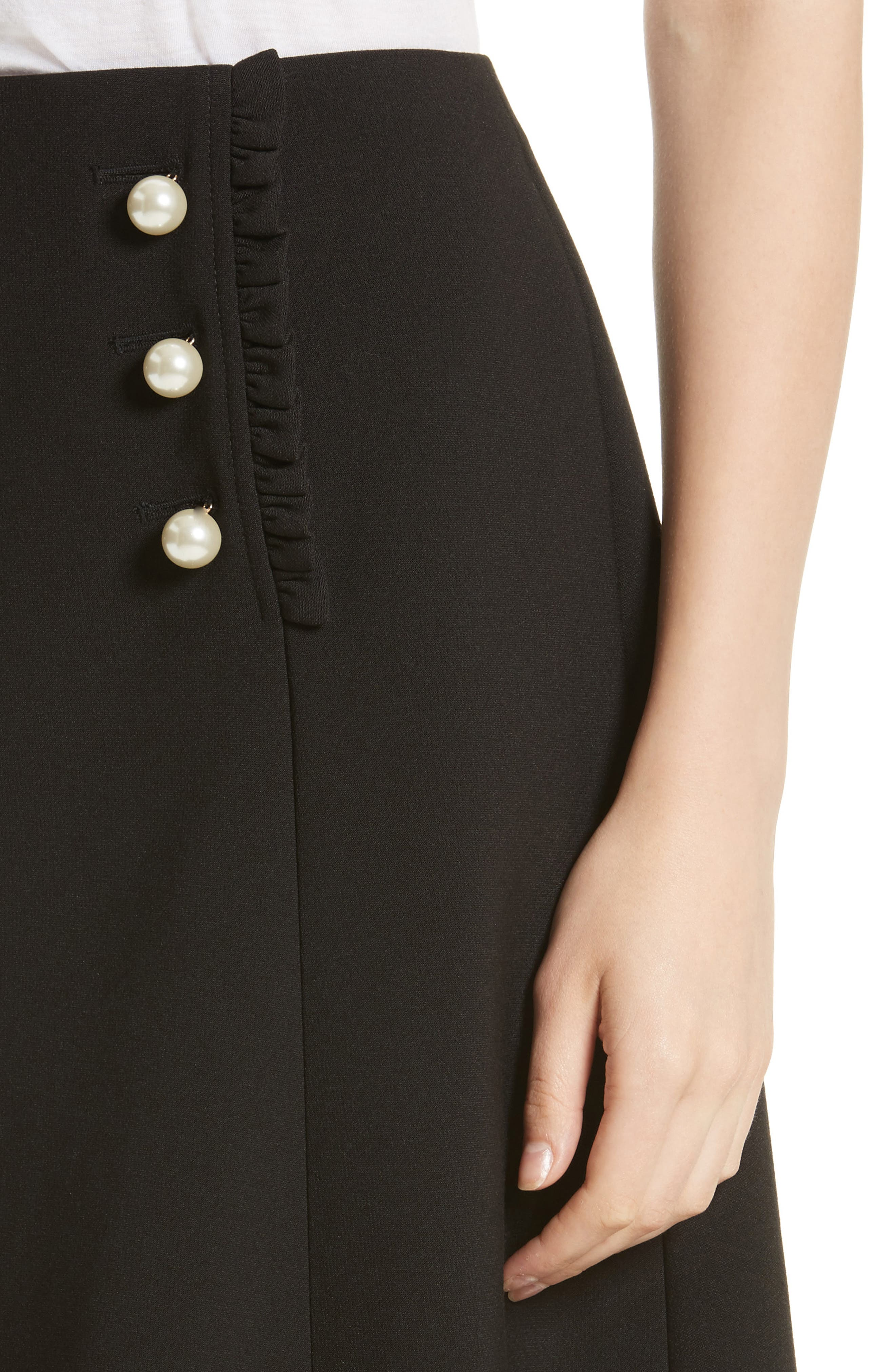 pearly button crepe skirt,                             Alternate thumbnail 4, color,                             001