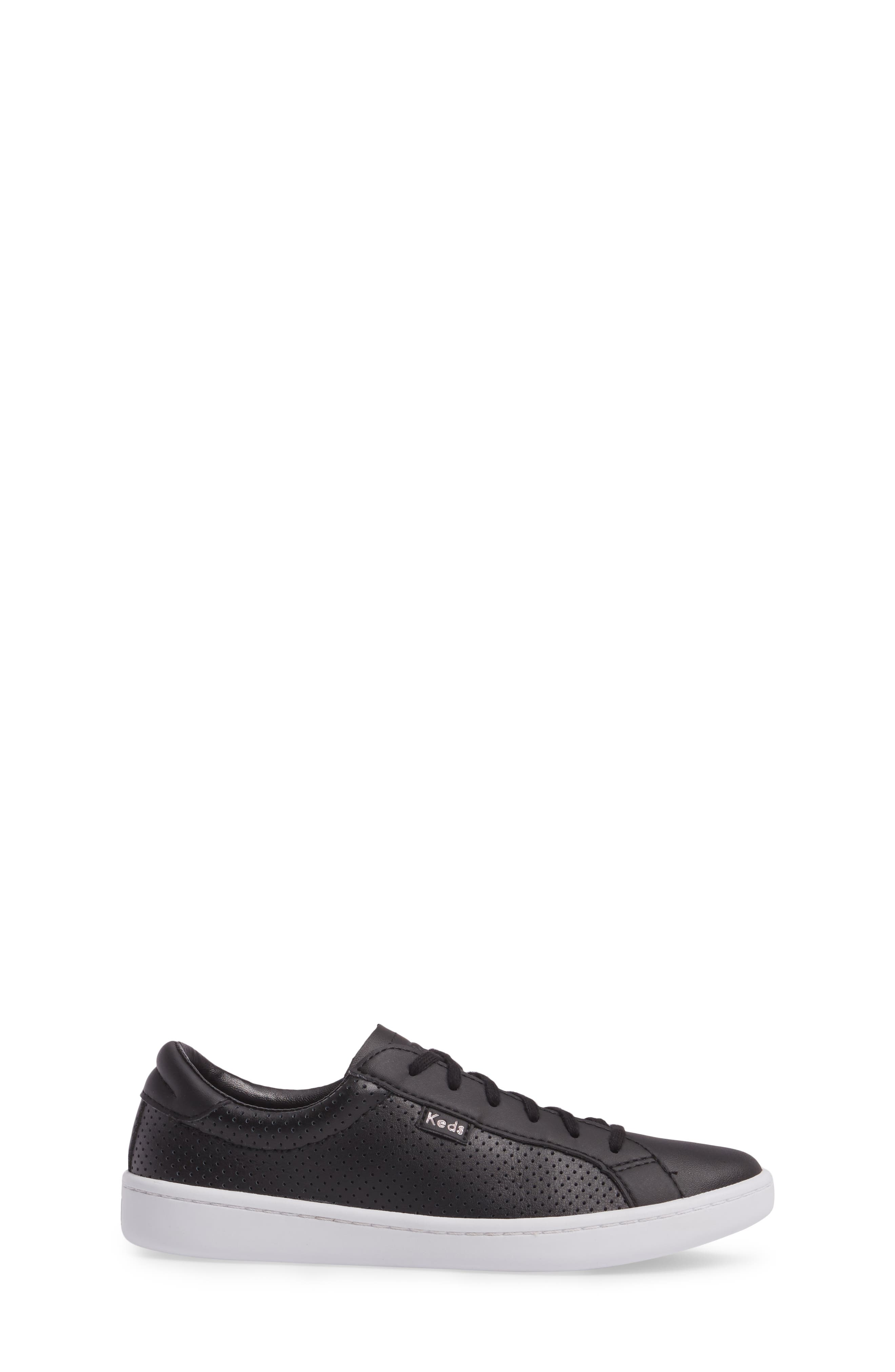 Ace Perforated Low Top Sneaker,                             Alternate thumbnail 3, color,                             001