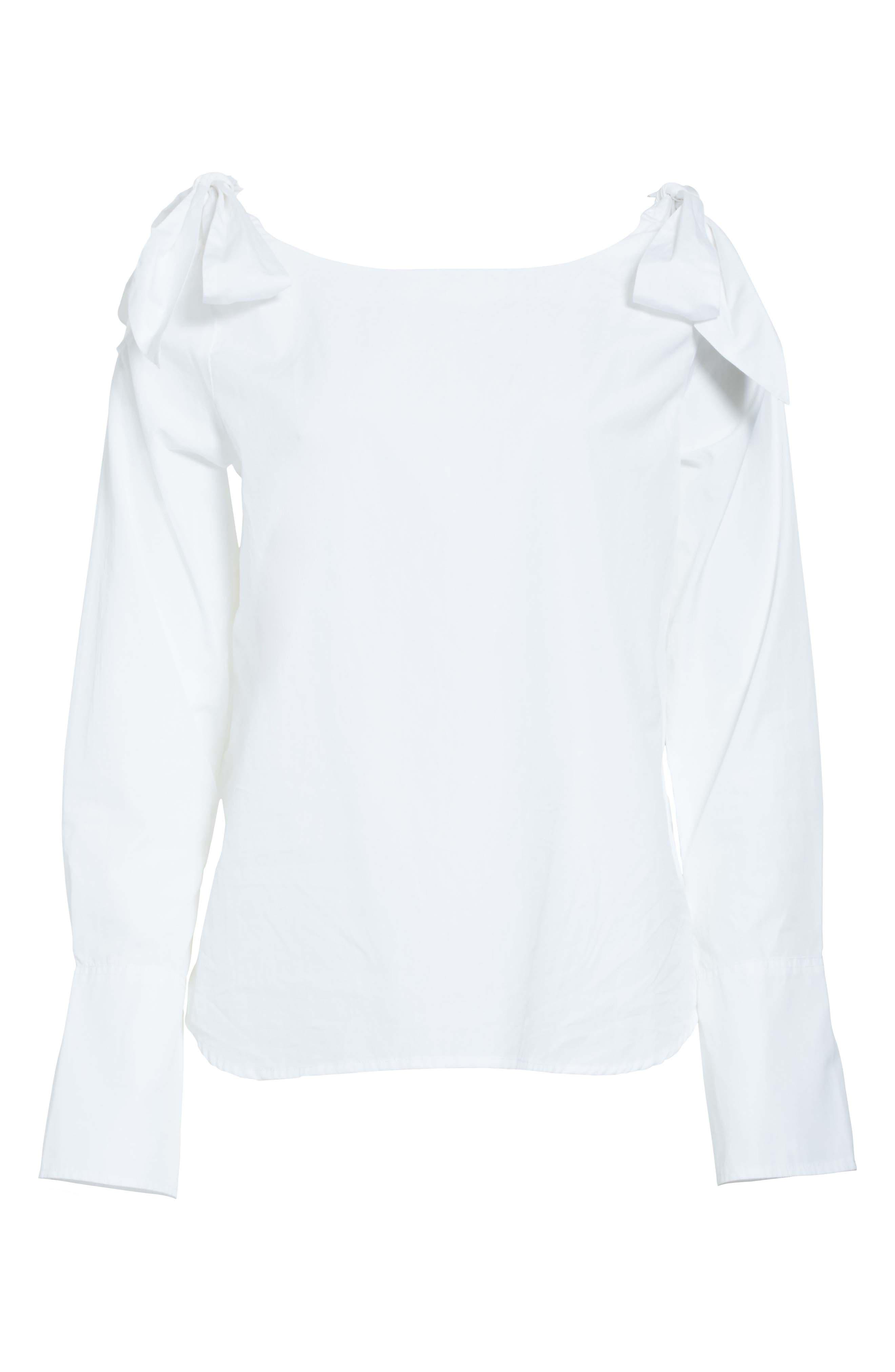 Bow Cold Shoulder Cotton Blouse,                             Alternate thumbnail 6, color,                             199