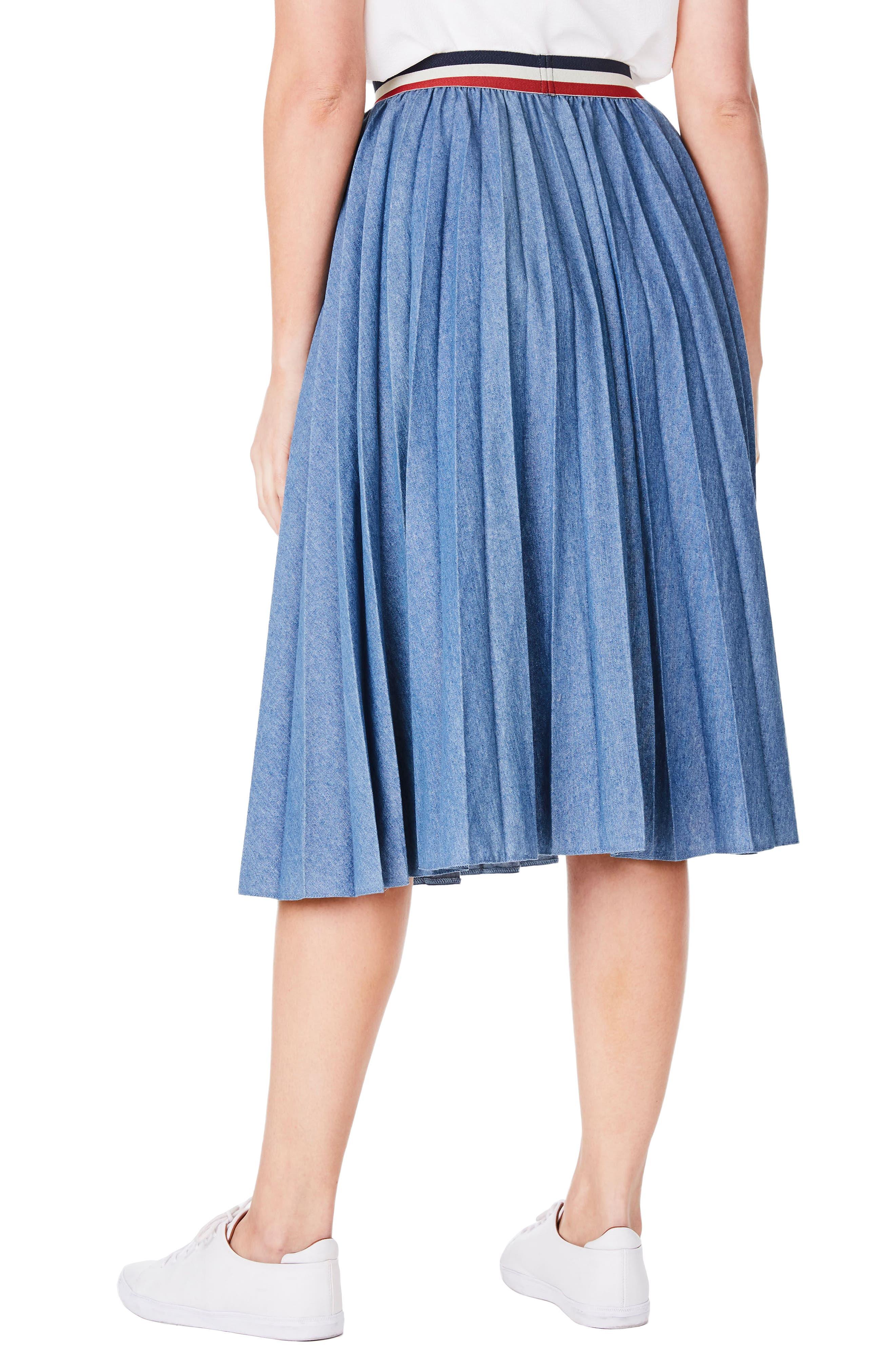 Pleat Denim Skirt,                             Alternate thumbnail 2, color,                             400