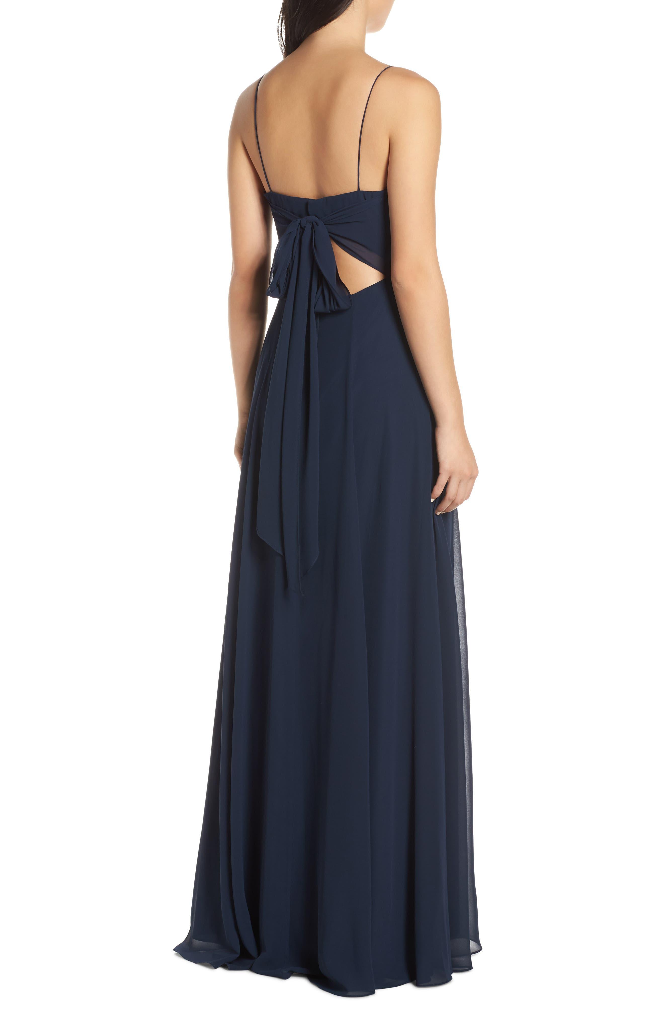 Kiara Bow Back Chiffon Evening Dress,                             Alternate thumbnail 2, color,                             NAVY