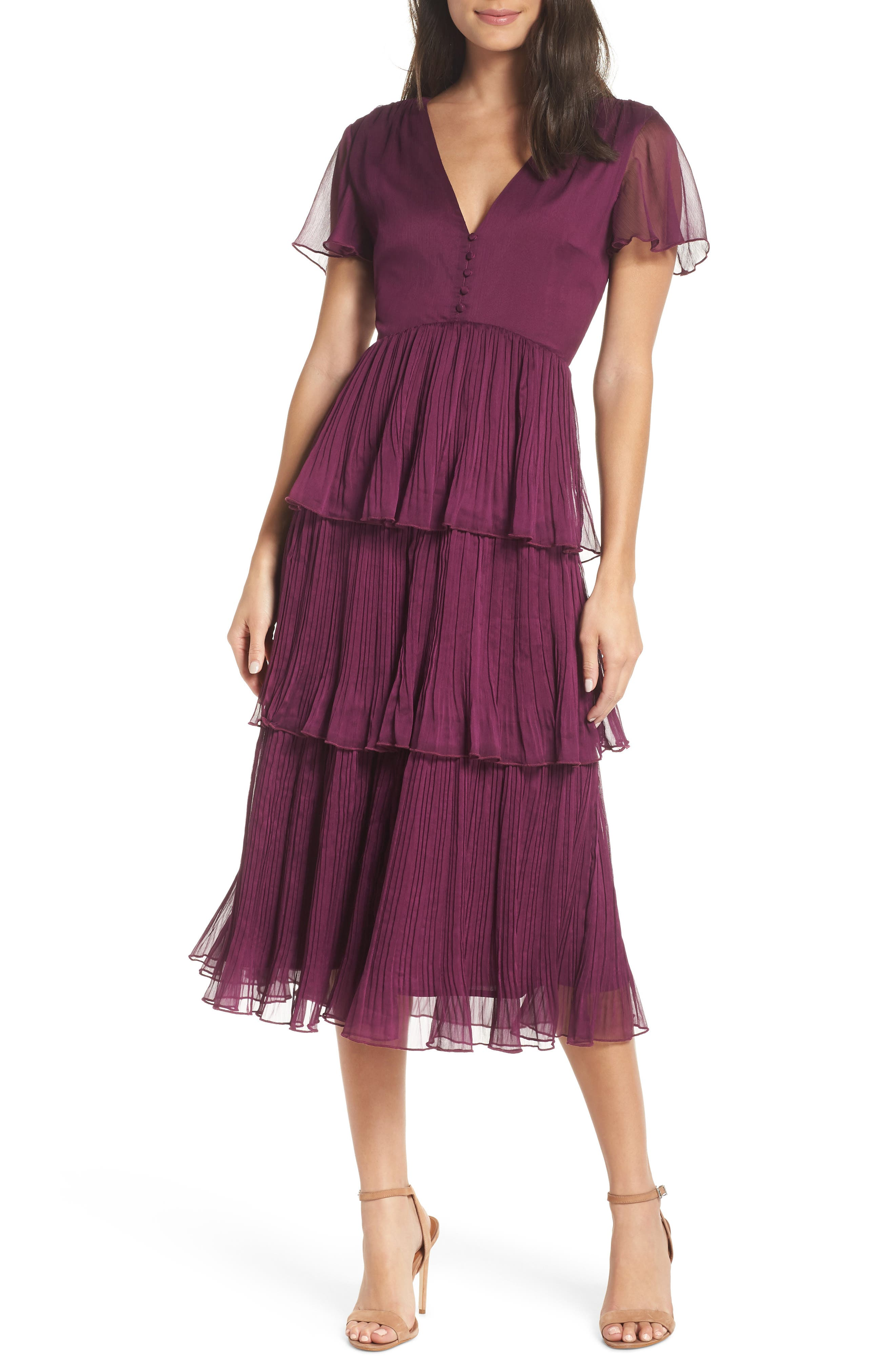 Tiered Skirt Midi Dress,                         Main,                         color, PURPLE DARK
