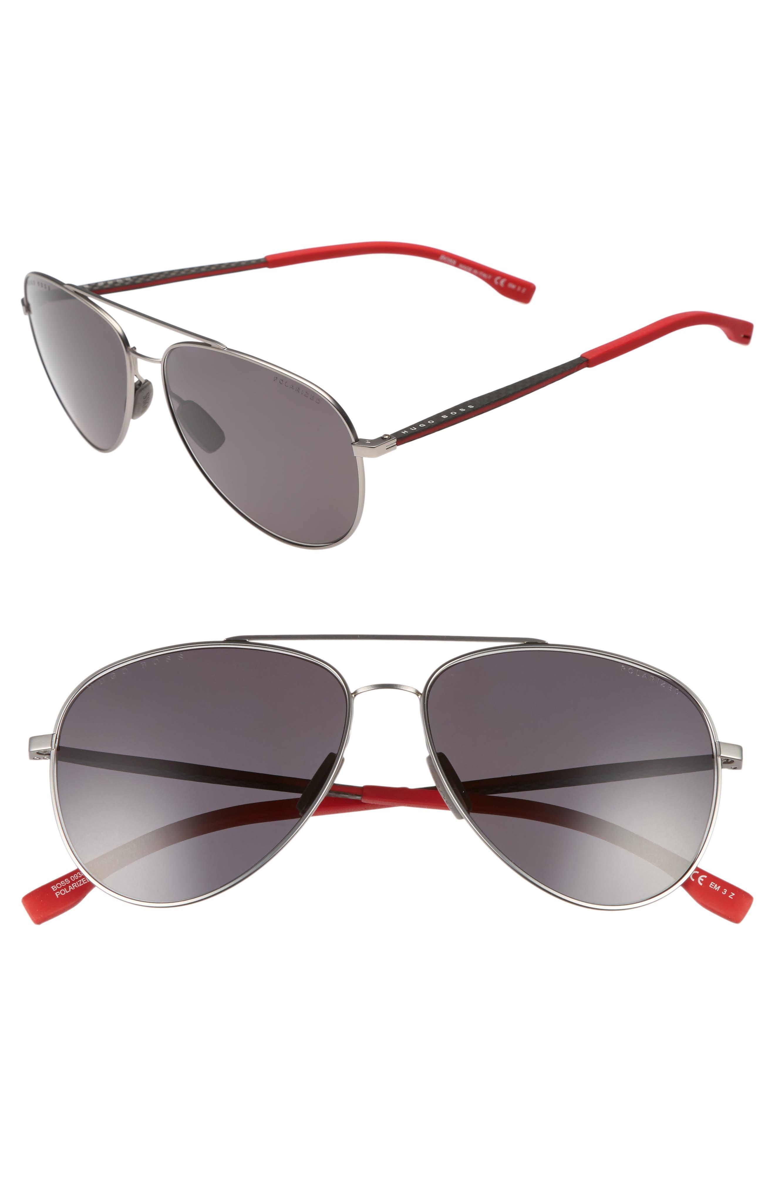 59mm Aviator Sunglasses,                         Main,                         color, GREY RUBBER/ GREY