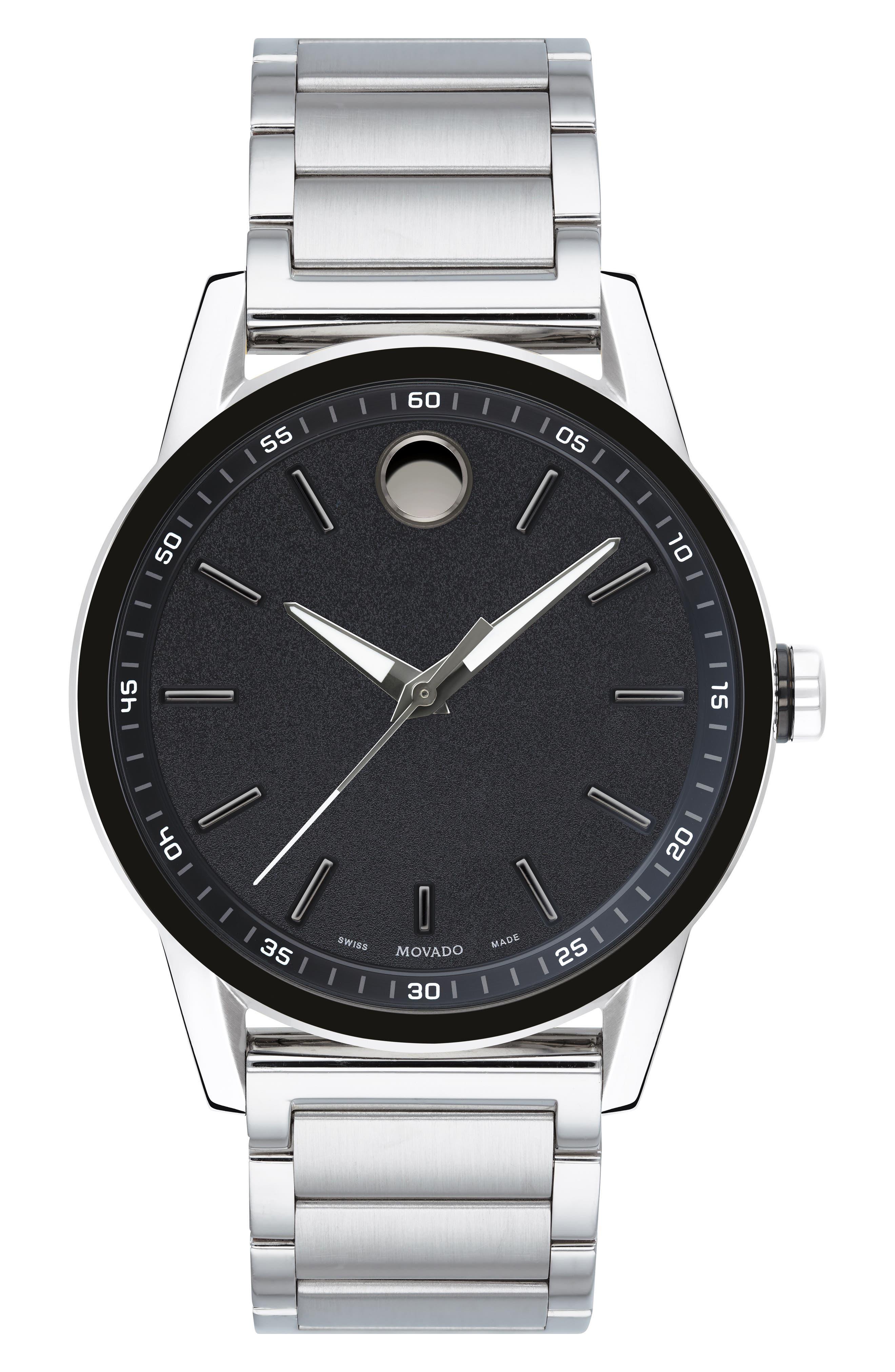Museum Sport Bracelet Watch, 42mm,                             Main thumbnail 1, color,                             SILVER/ BLACK/ SILVER