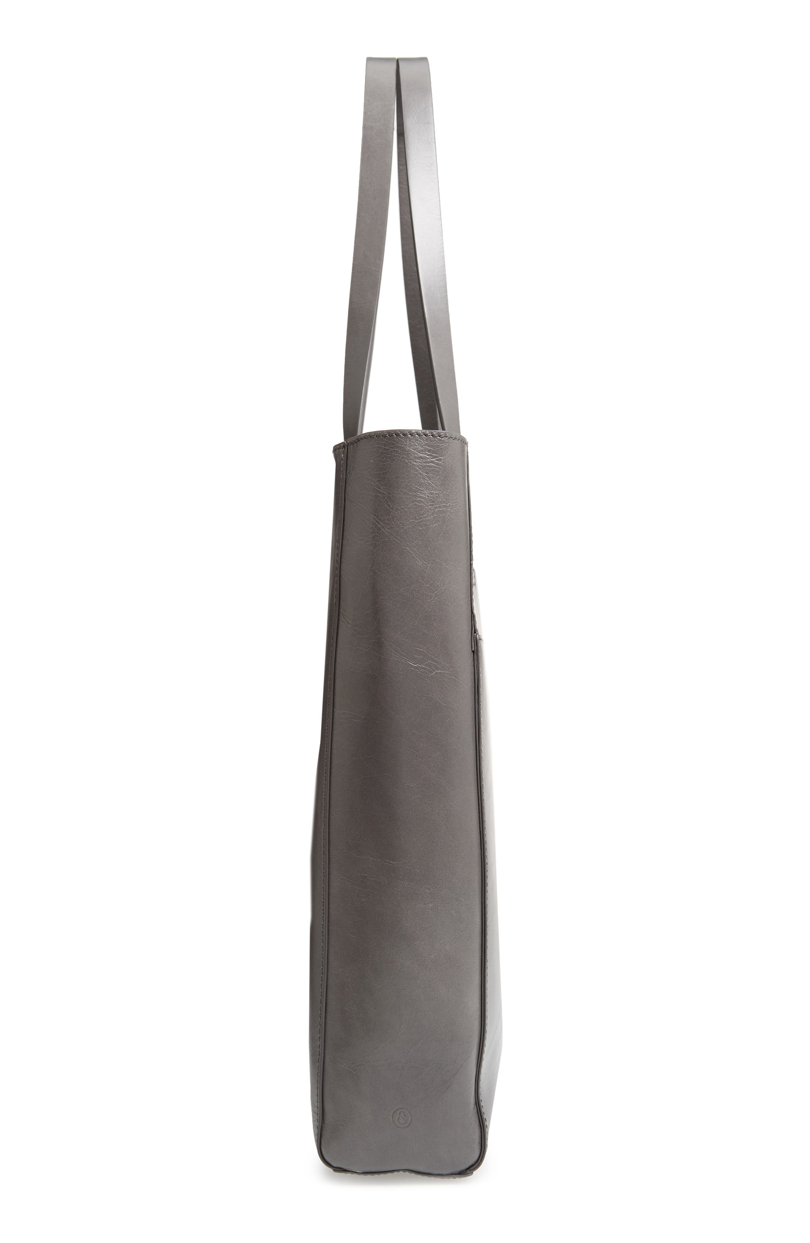 Andi Leather Tote,                             Alternate thumbnail 5, color,                             GREY MONUMENT