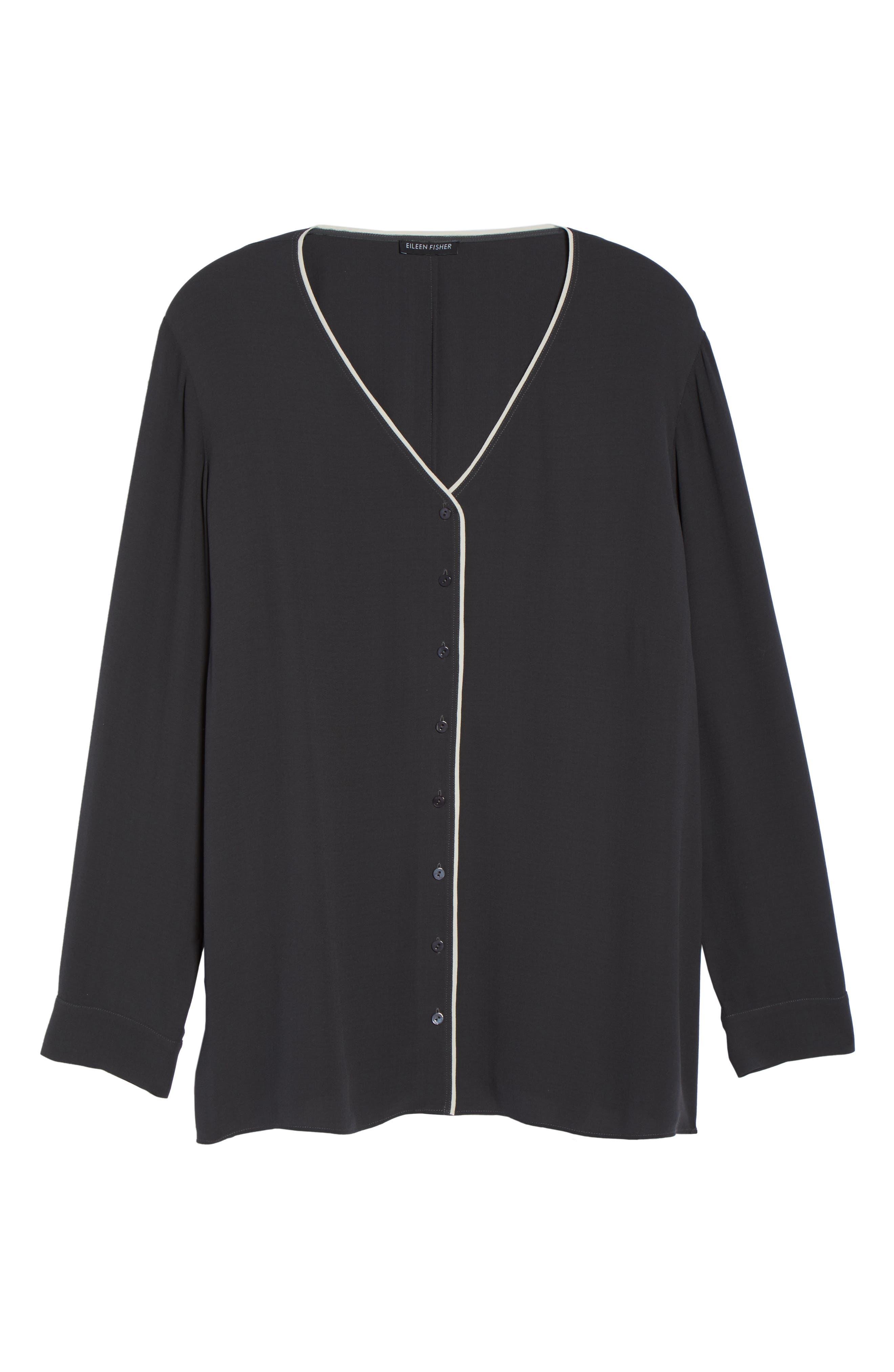 Piping V-Neck Silk Shirt,                             Alternate thumbnail 6, color,                             025
