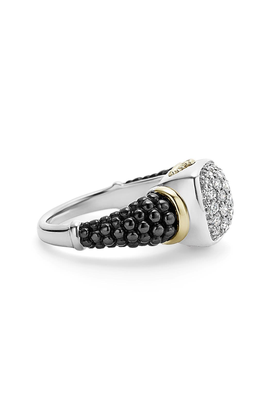 'Caviar' Diamond Ring,                             Alternate thumbnail 5, color,                             BLACK/ GOLD