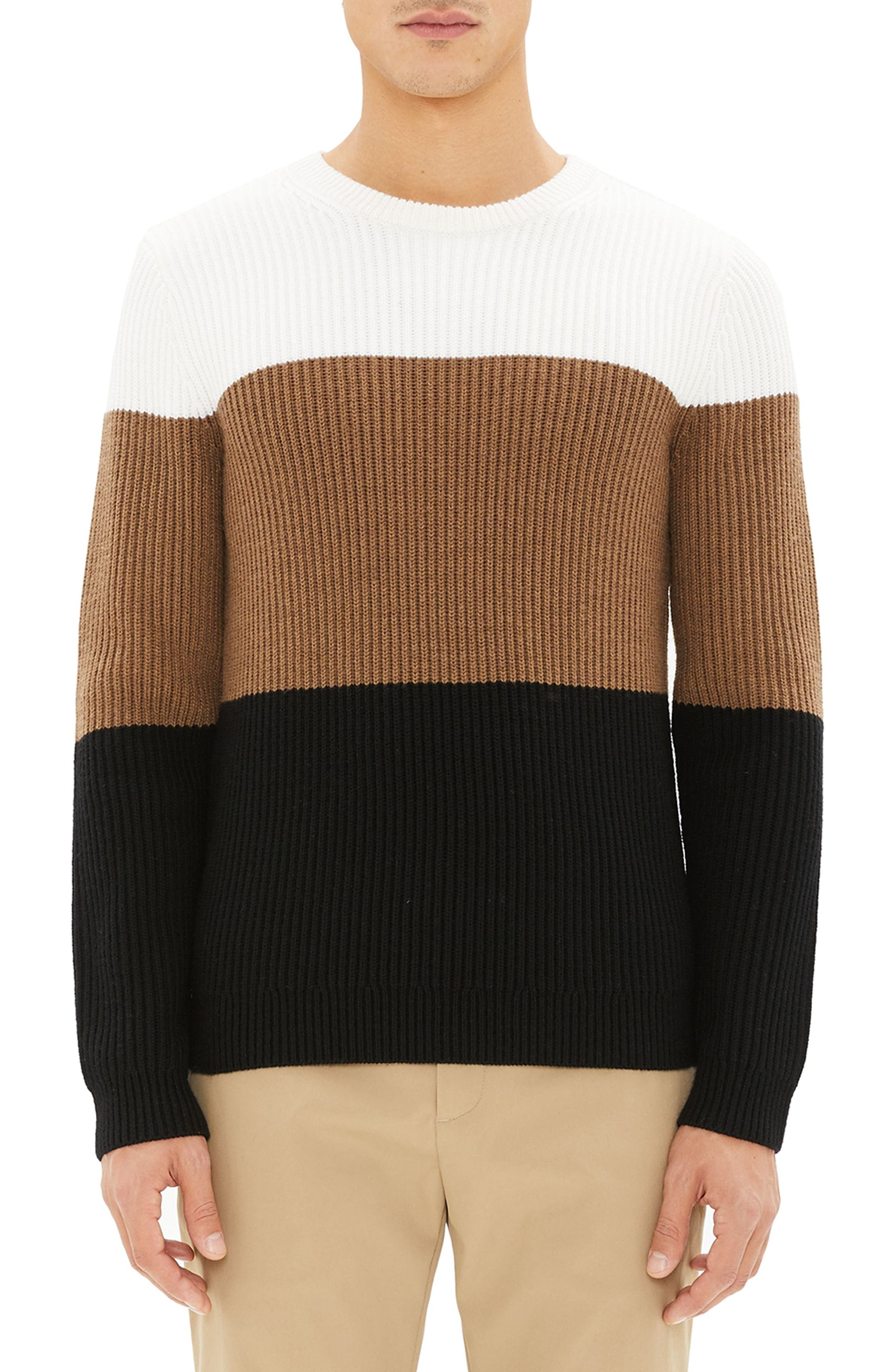 Theory Romman Colorblock Merino Wool Sweater, White