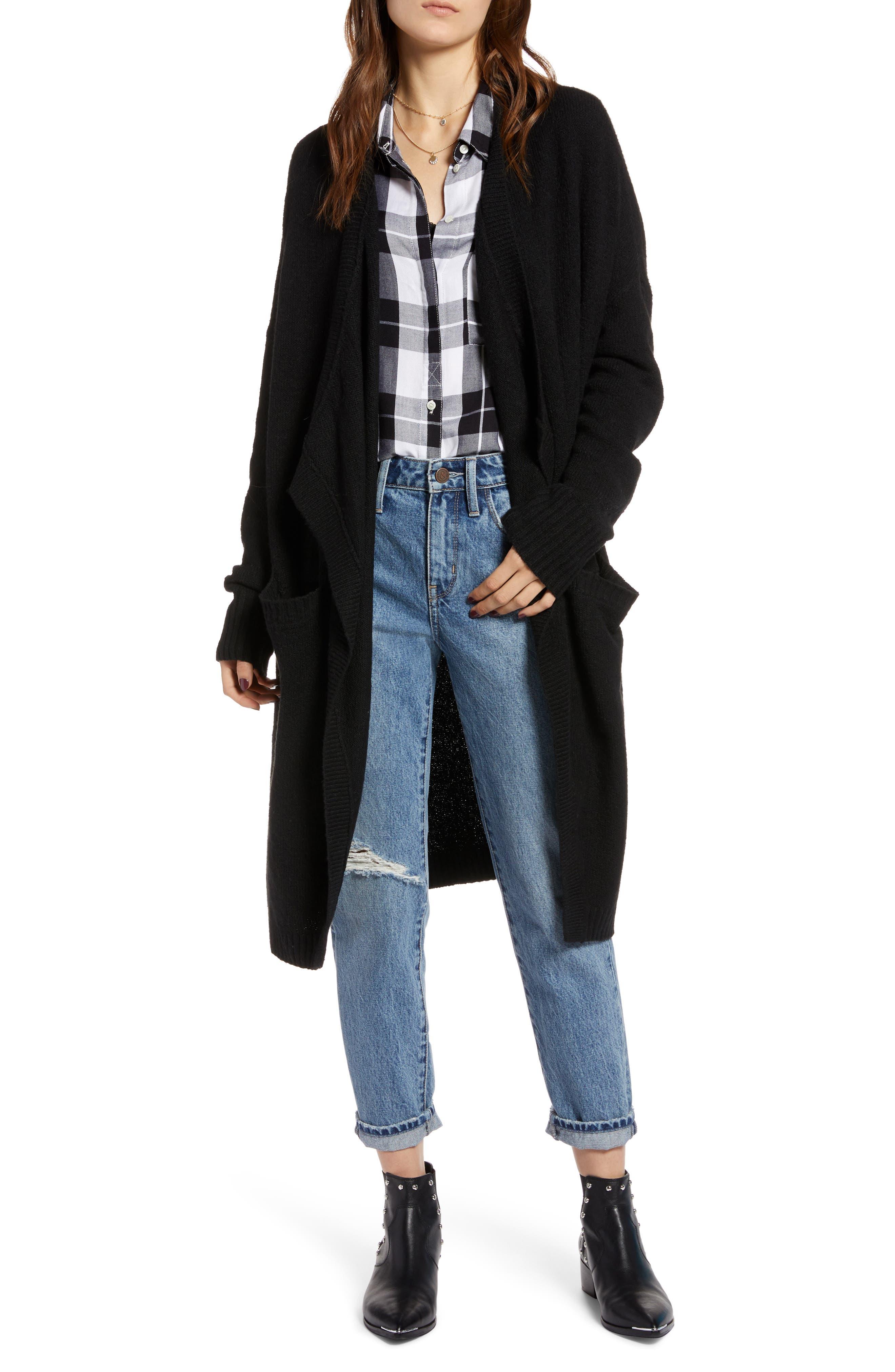 Drape Cardigan,                         Main,                         color, BLACK