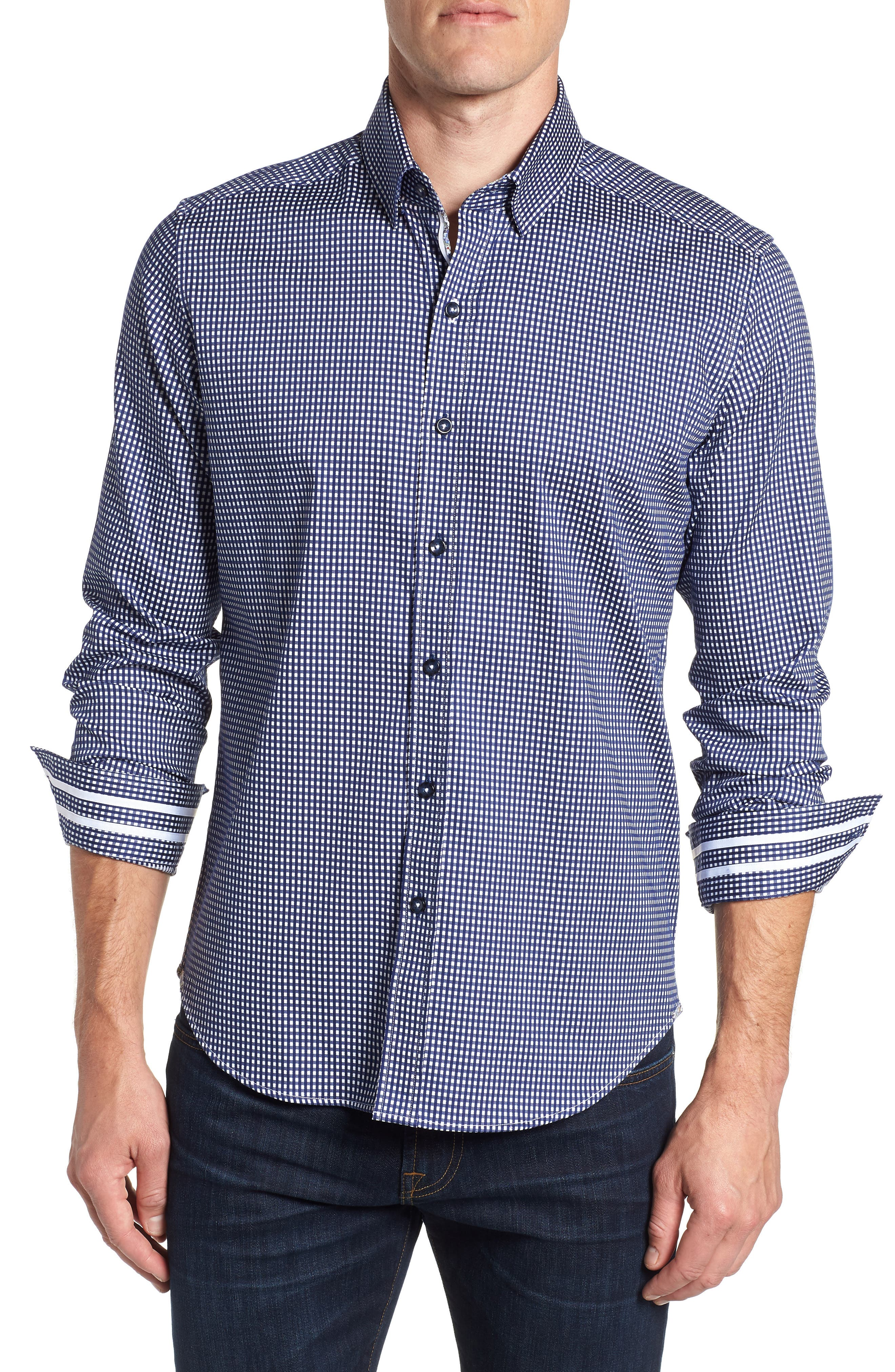 Charles Tailored Fit Sport Shirt,                         Main,                         color, BLUE