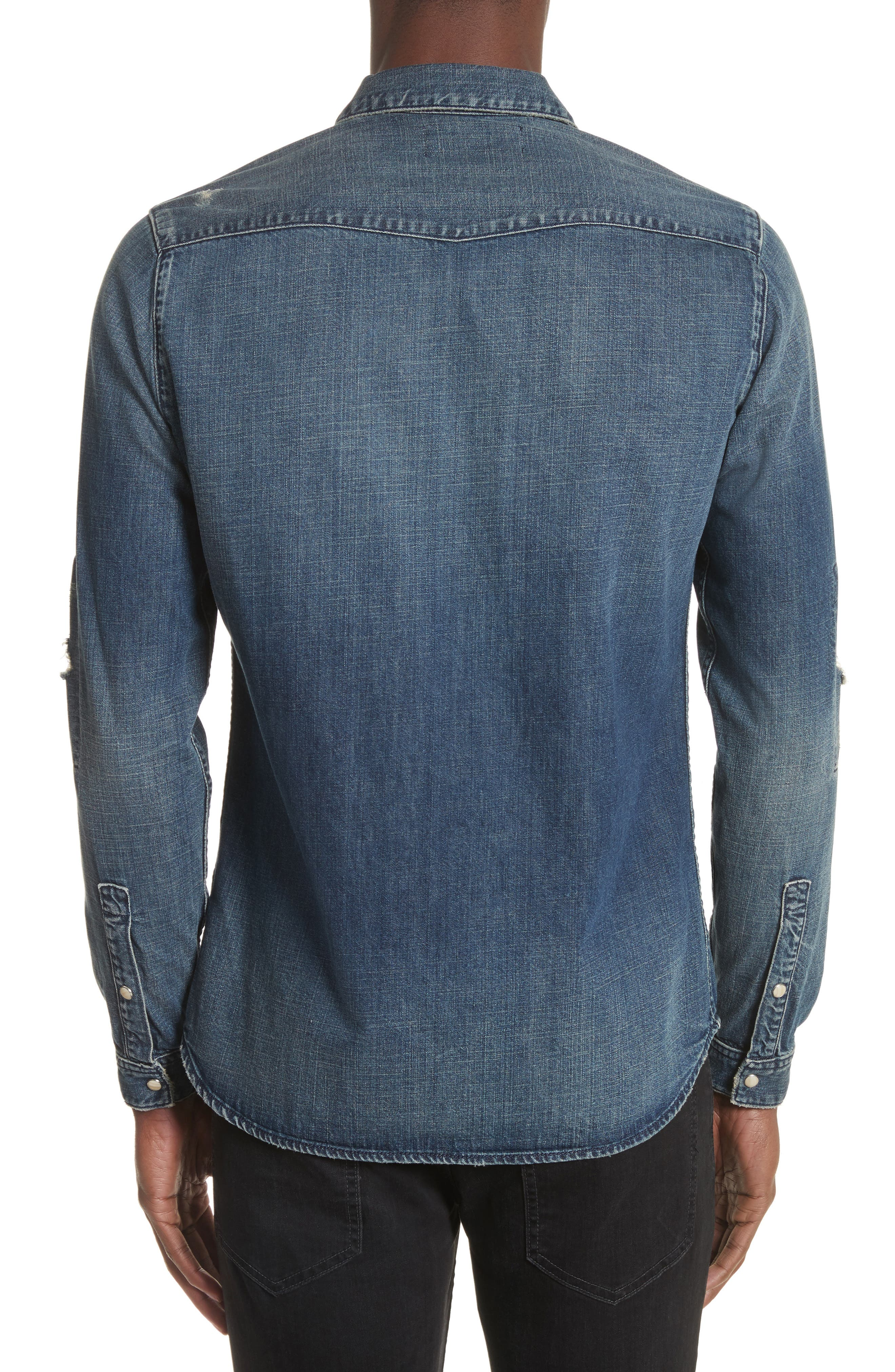 Distressed Denim Western Shirt,                             Alternate thumbnail 2, color,                             400