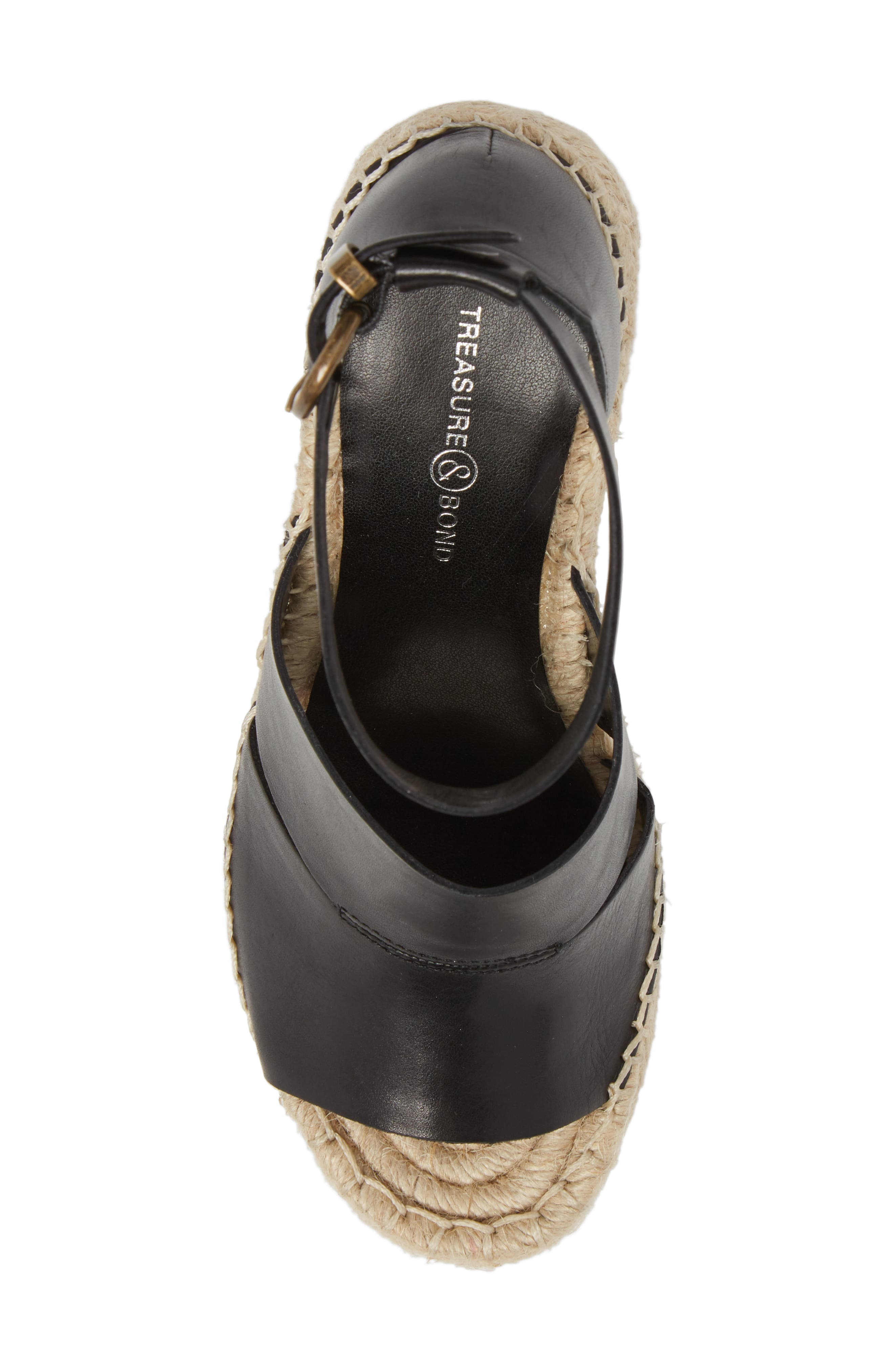 Sannibel Platform Wedge Sandal,                             Alternate thumbnail 5, color,                             BLACK LEATHER