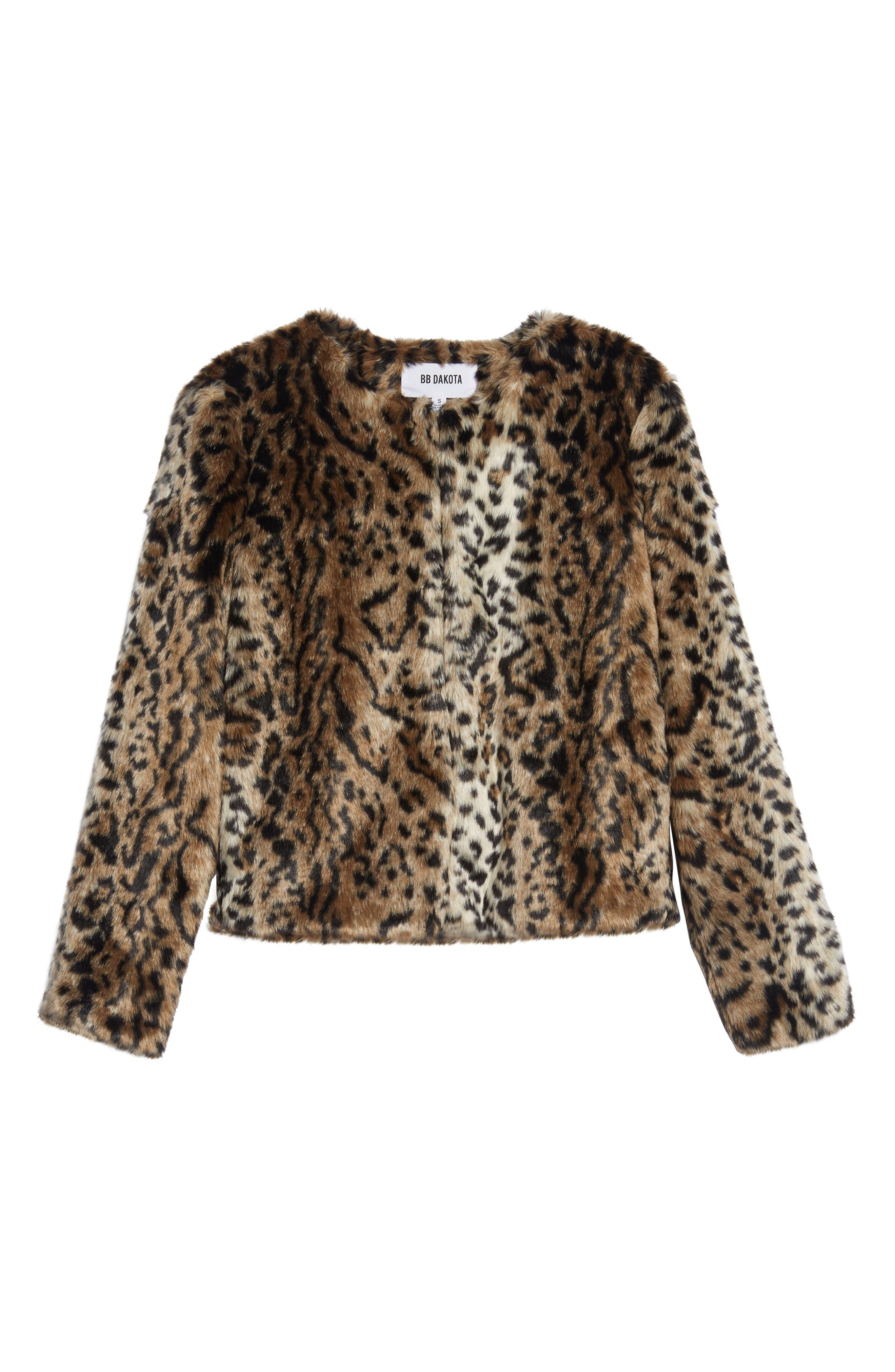 McKinley Leopard Print Faux Fur Jacket,                             Alternate thumbnail 5, color,                             238