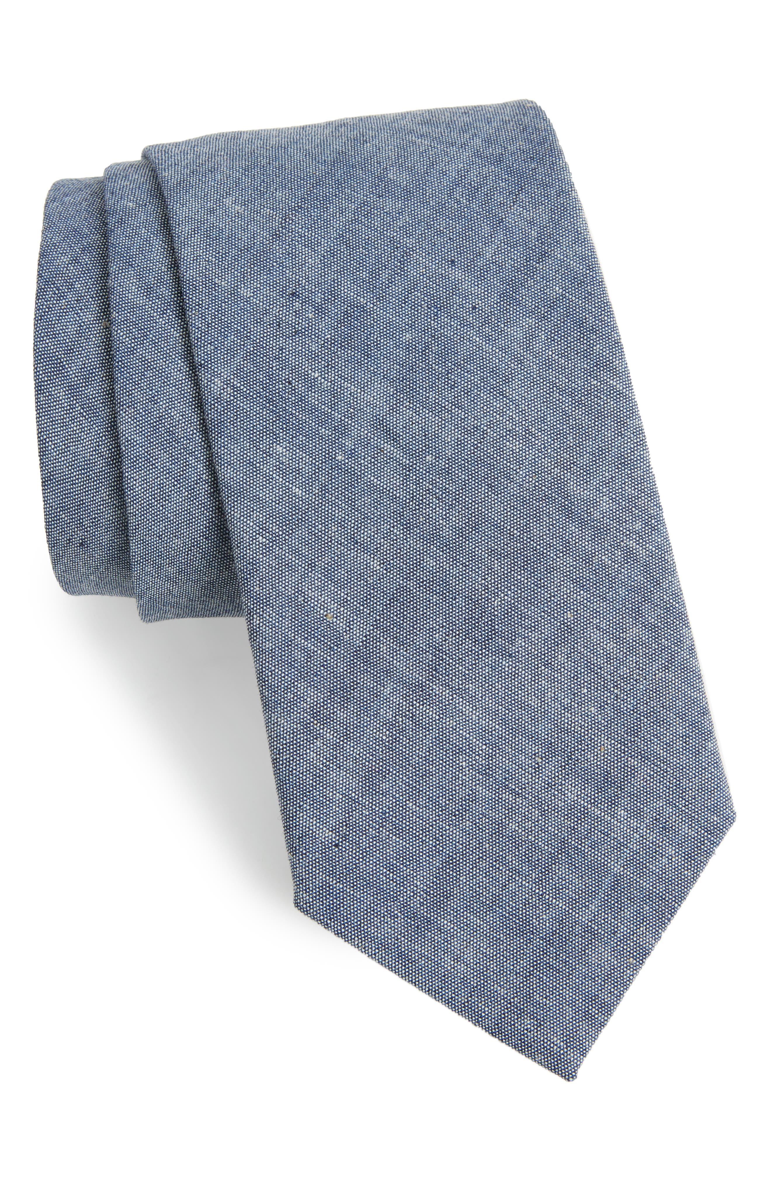 Chambray Cotton Tie,                             Main thumbnail 1, color,                             CHAMBRAY