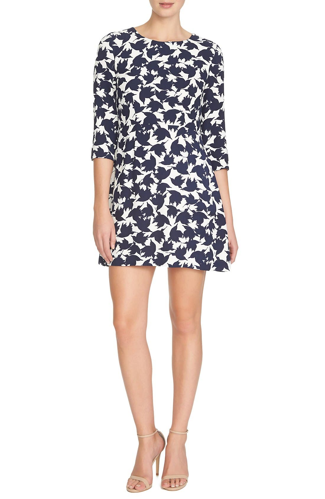 by Cynthia Steffe 'Willow' Bird Print Dress, Main, color, 908