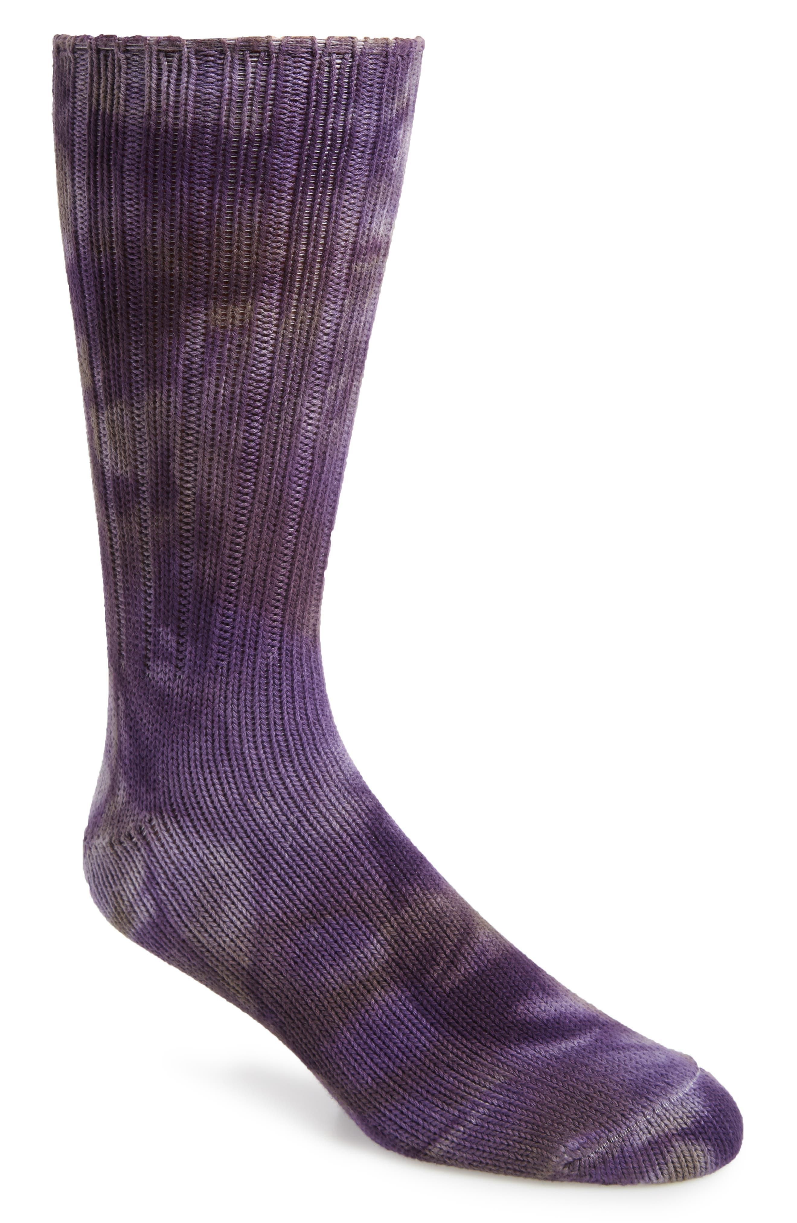 ANONYMOUS ISM Uneven Dye Socks in Purple