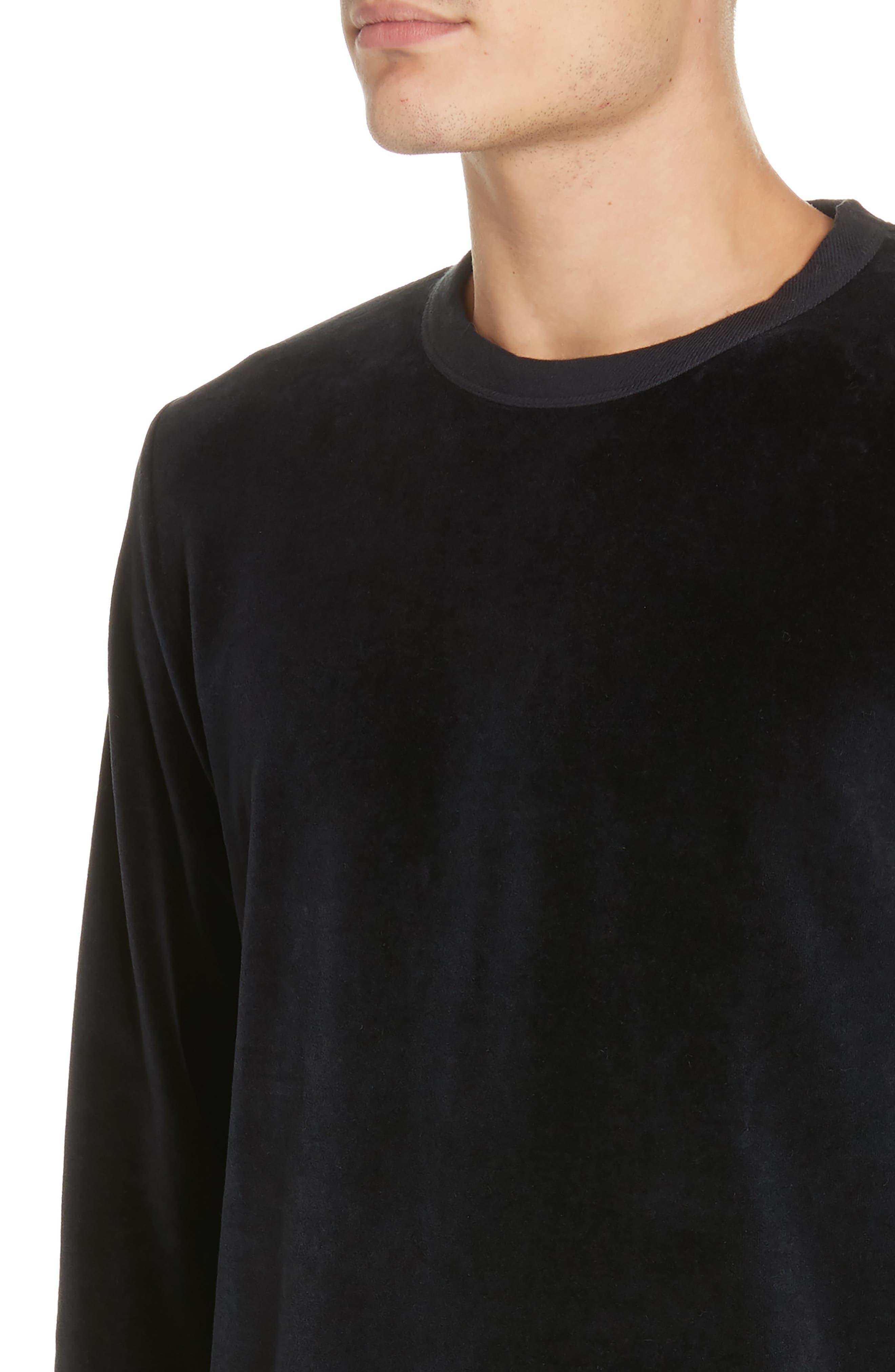 Velour Long Sleeve T-Shirt,                             Alternate thumbnail 4, color,                             NAVY VELOUR