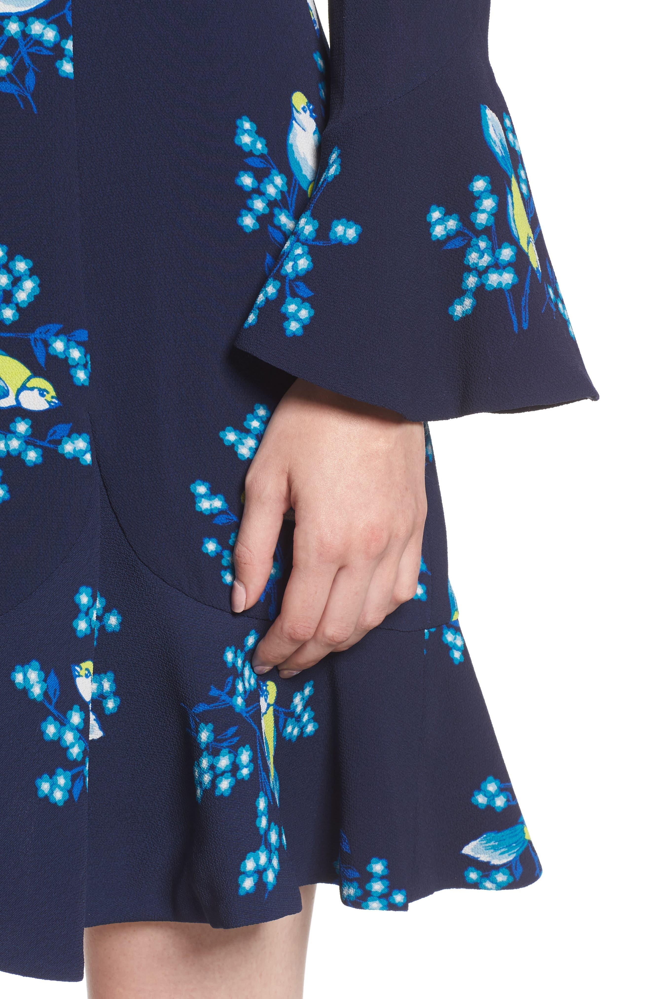 Magnolia Mockingbird Bell Sleeve A-line Dress,                             Alternate thumbnail 4, color,                             432