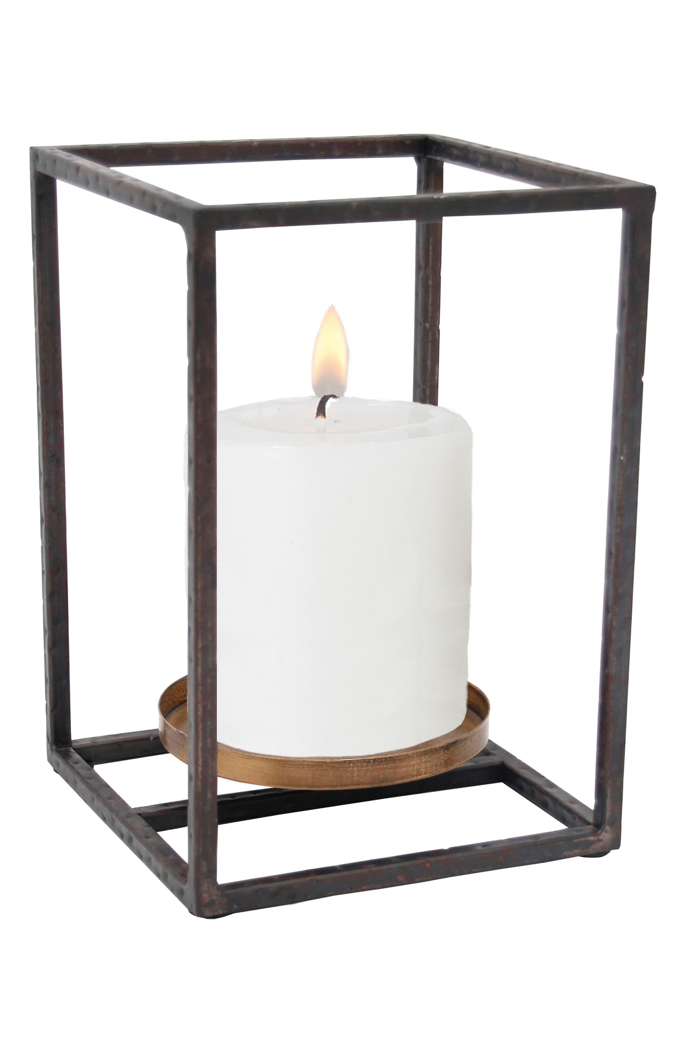 Small Cube Pillar Candle Holder,                             Main thumbnail 1, color,                             200