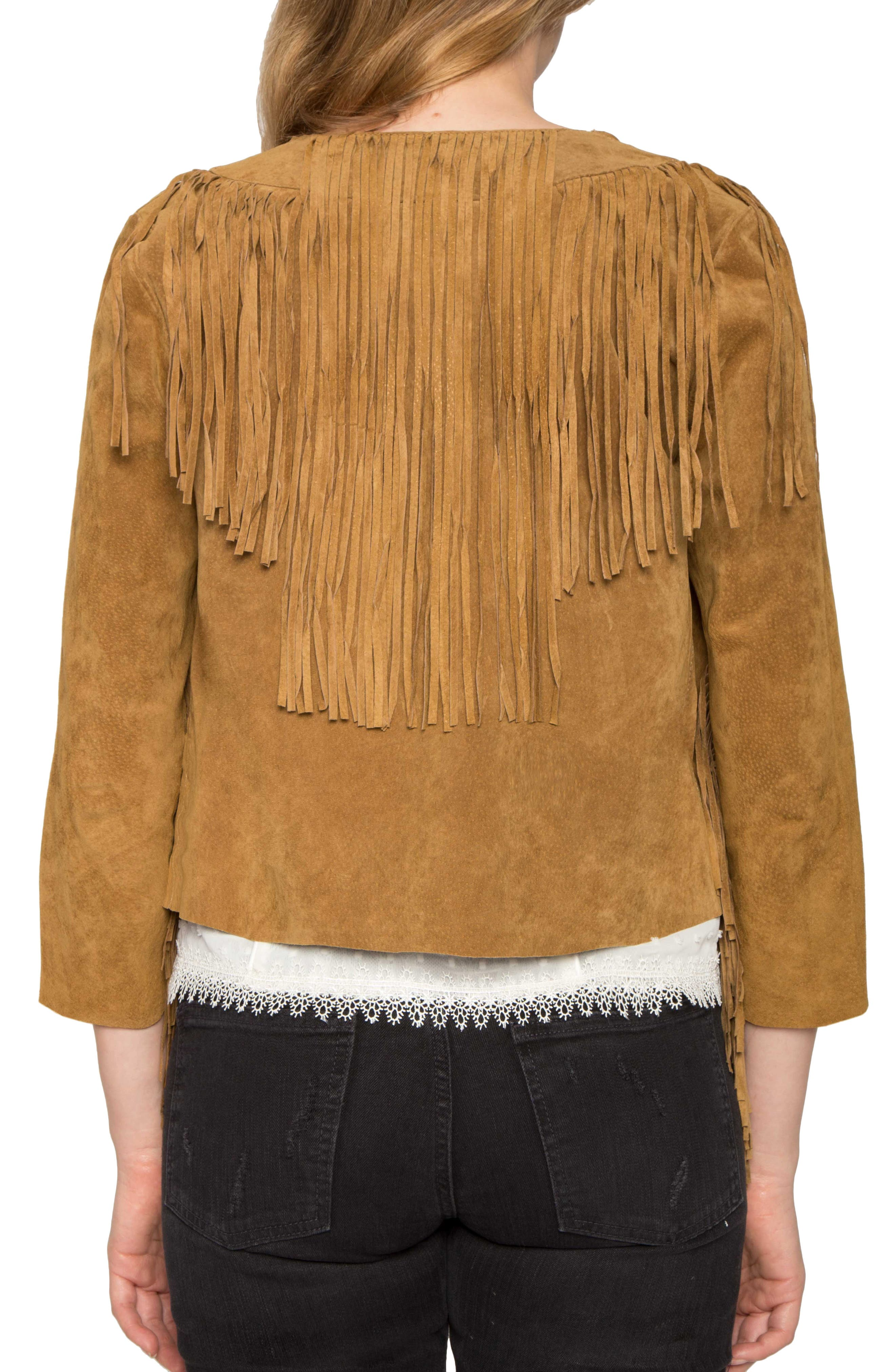 Crop Fringe Suede Jacket,                             Alternate thumbnail 2, color,                             200