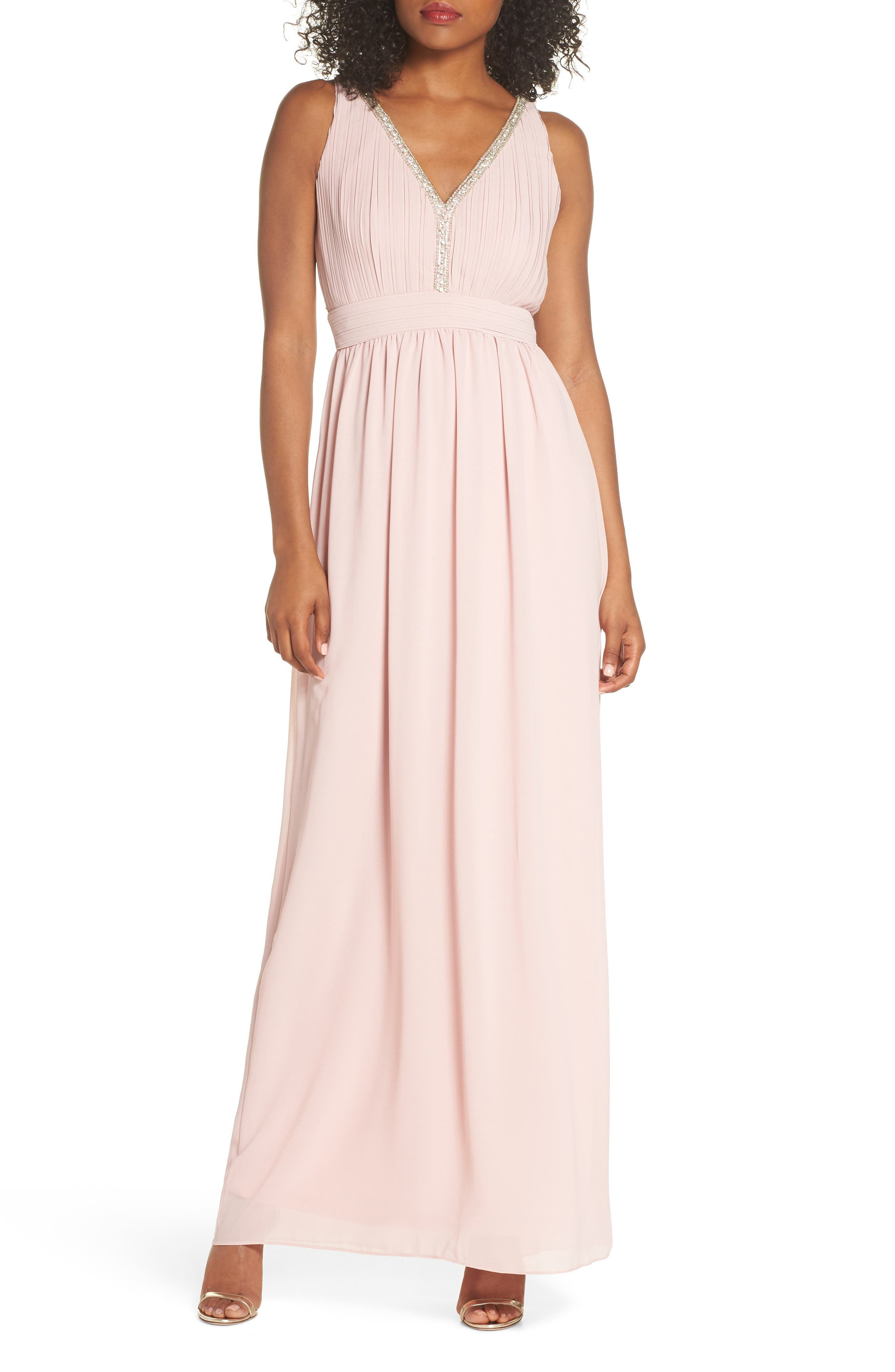 Sallie Open Back Chiffon Gown,                         Main,                         color,