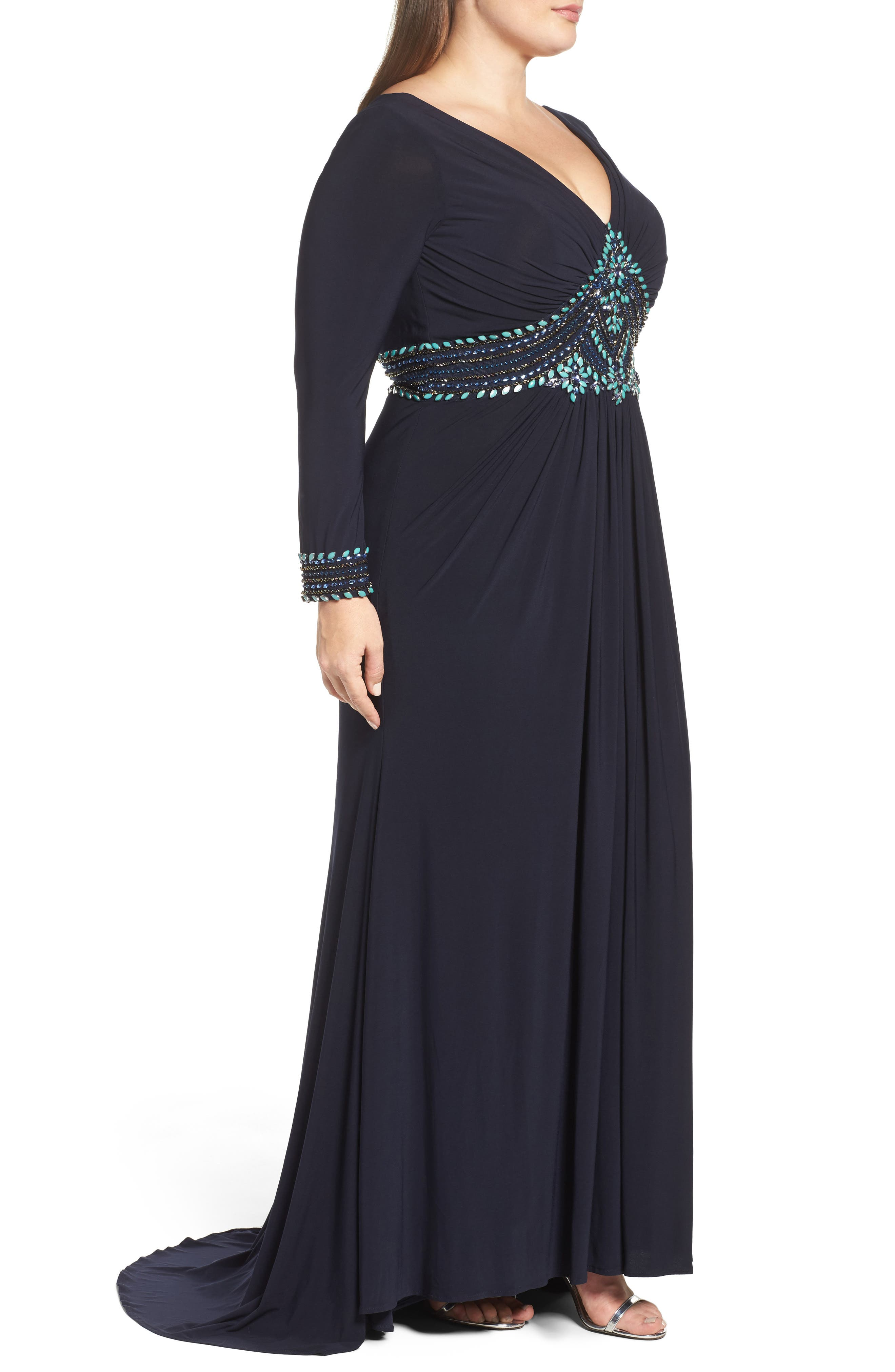 Embellished A-Line Jersey Gown,                             Alternate thumbnail 3, color,