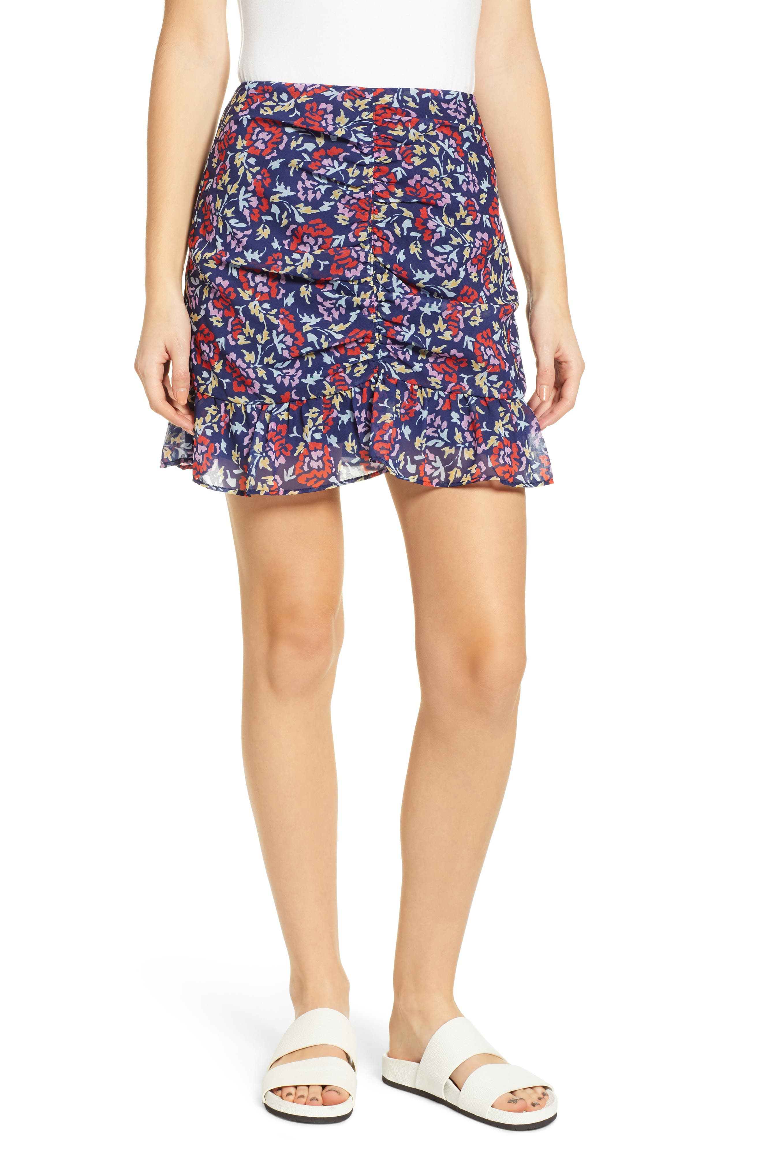 THE FIFTH LABEL Ruched Floral Print Miniskirt, Main, color, NAVY/ SCARLET WATERCOLOR