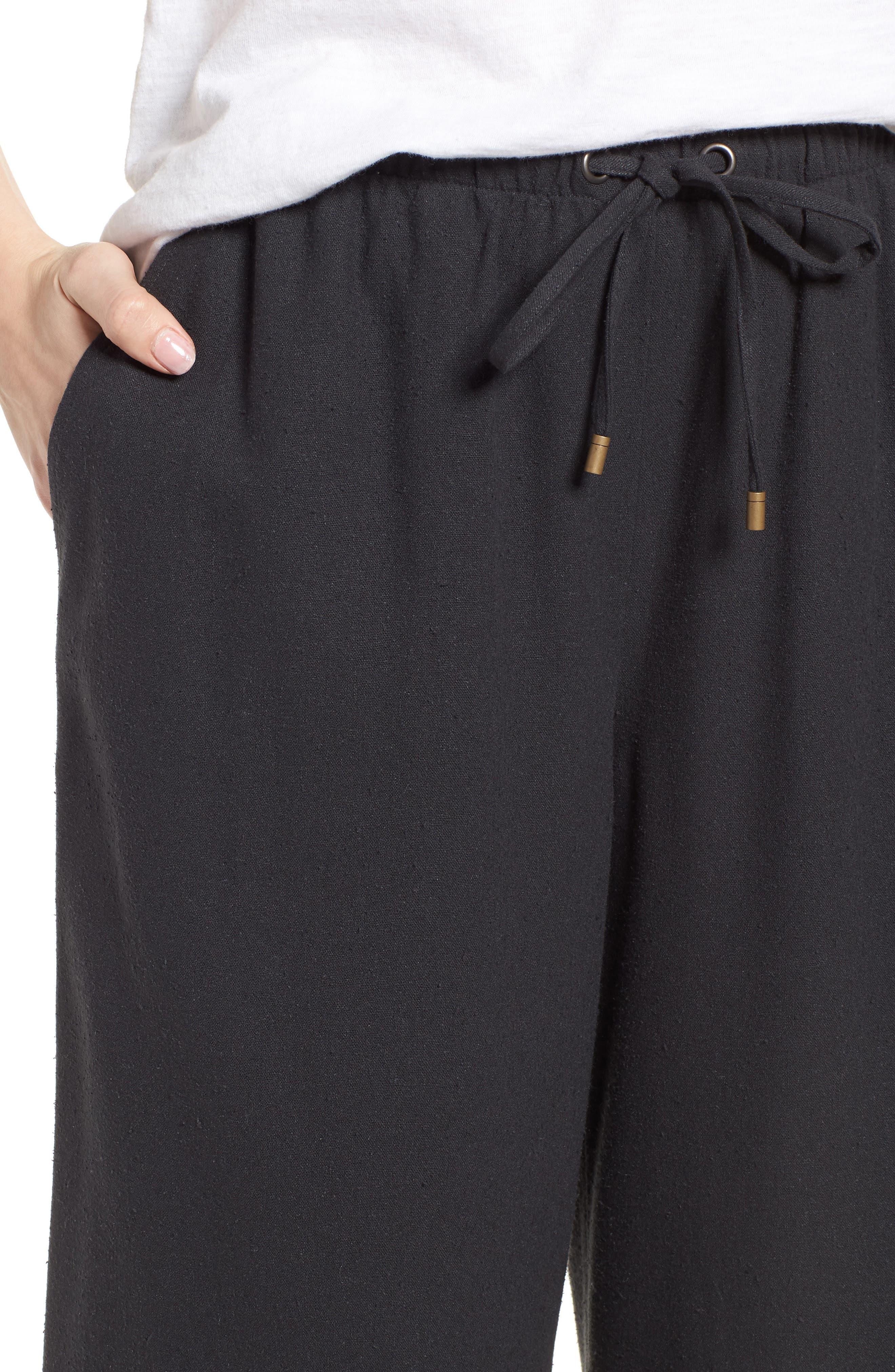 Silk Noil Wide Leg Pants,                             Alternate thumbnail 4, color,                             025