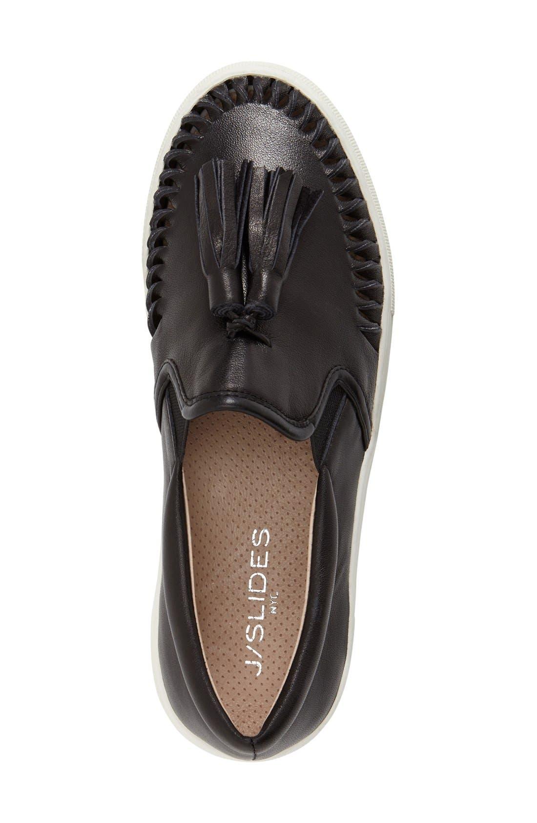 Tassel Slip-On Sneaker,                             Alternate thumbnail 3, color,                             BLACK LEATHER