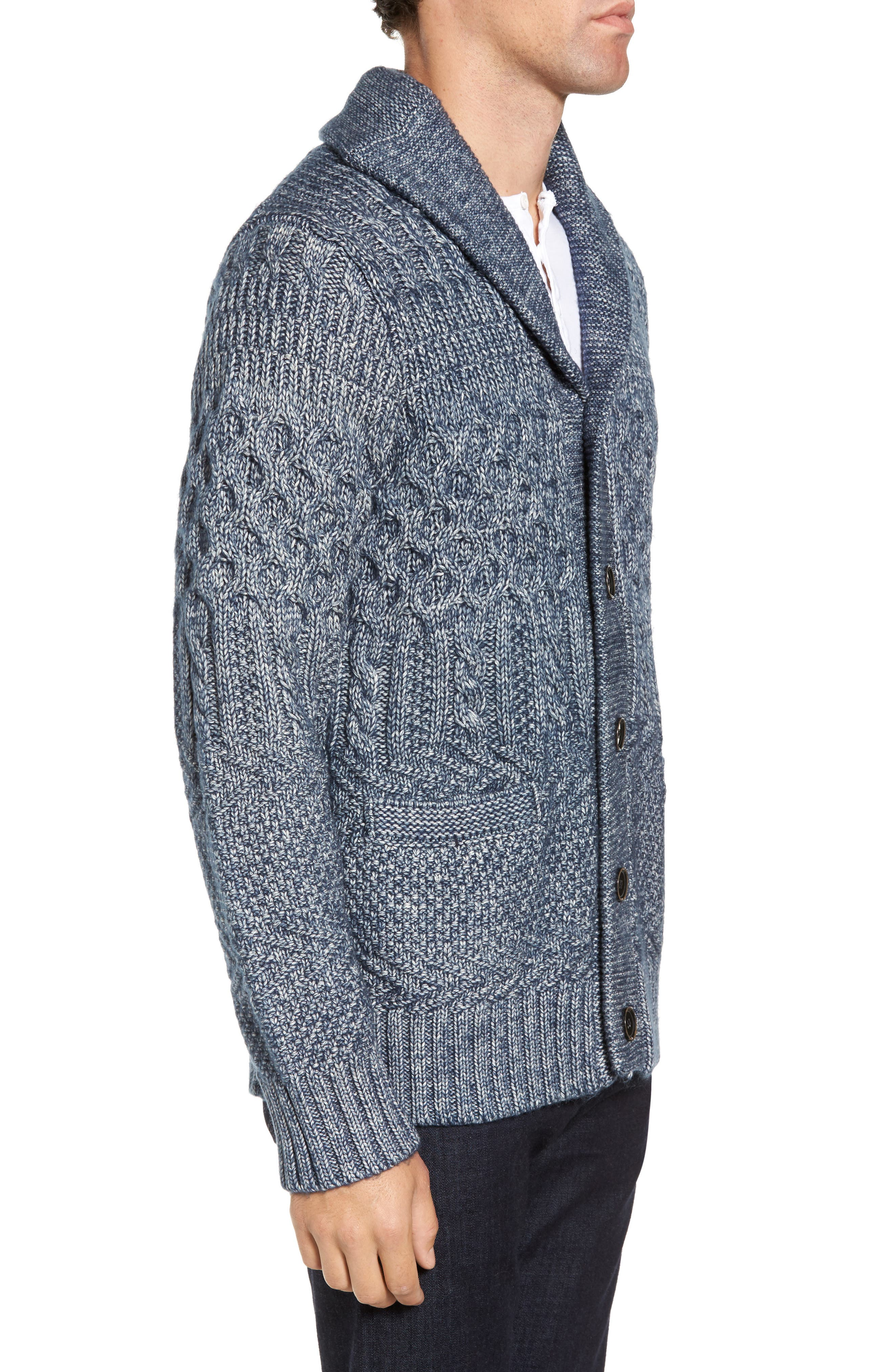 Cable Knit Cardigan,                             Alternate thumbnail 3, color,                             404