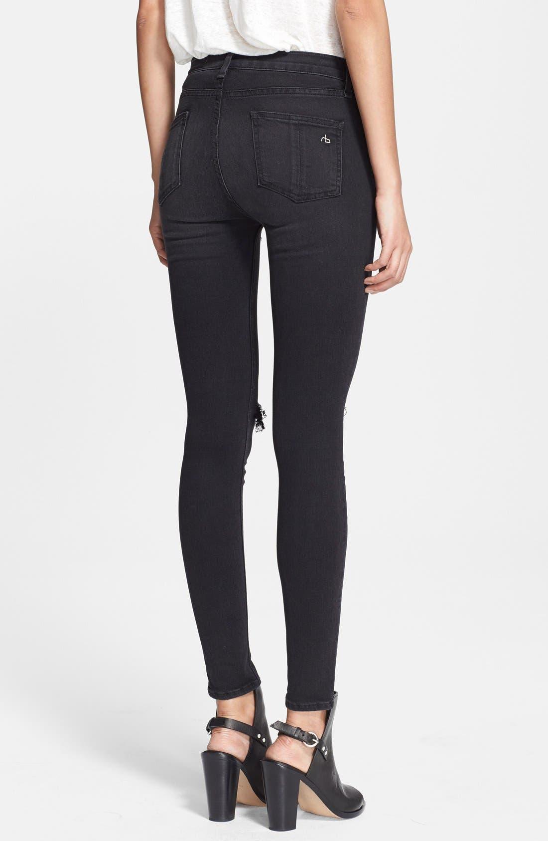 RAG & BONE,                             JEAN High Rise Ultra Skinny Jeans,                             Alternate thumbnail 2, color,                             001