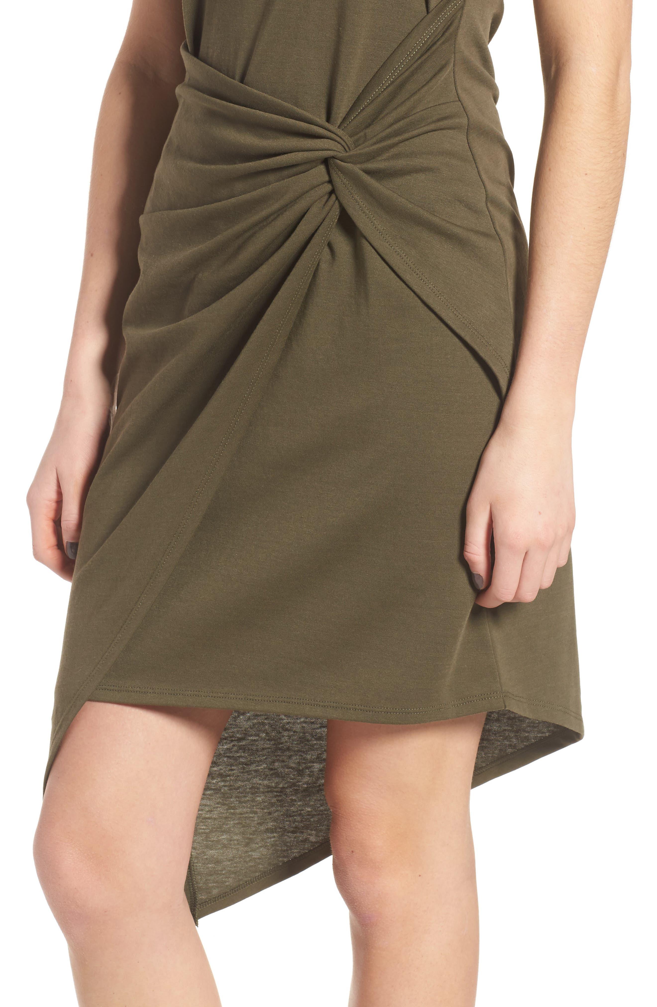 Twist Front Dress,                             Alternate thumbnail 4, color,                             OLIVE SARMA