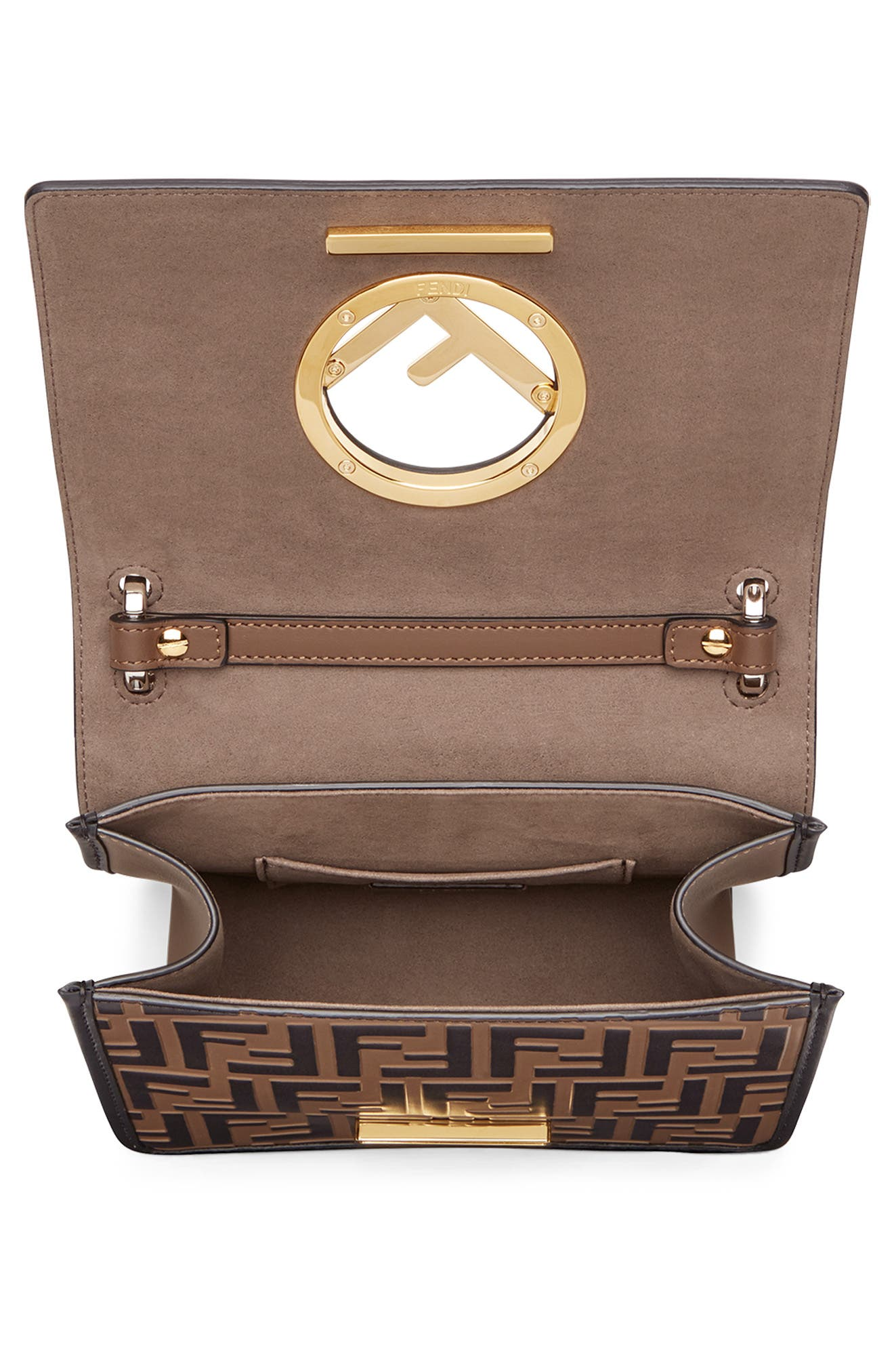FENDI,                             Small Kan I Logo Embossed Leather Shoulder Bag,                             Alternate thumbnail 3, color,                             MAYA/ NERO