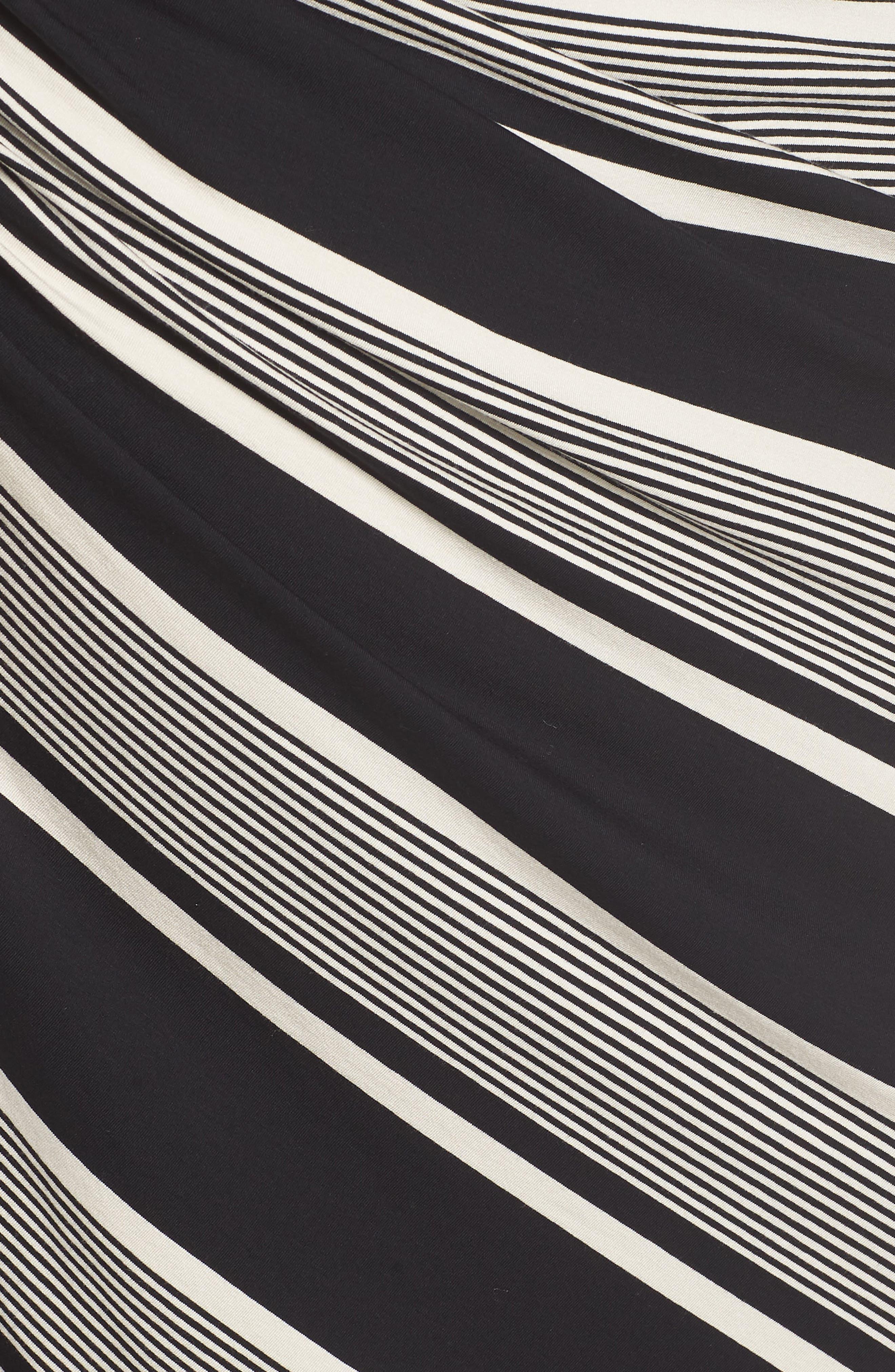 Venue Block Stripe Ruched Body-Con Dress,                             Alternate thumbnail 6, color,                             RICH BLACK