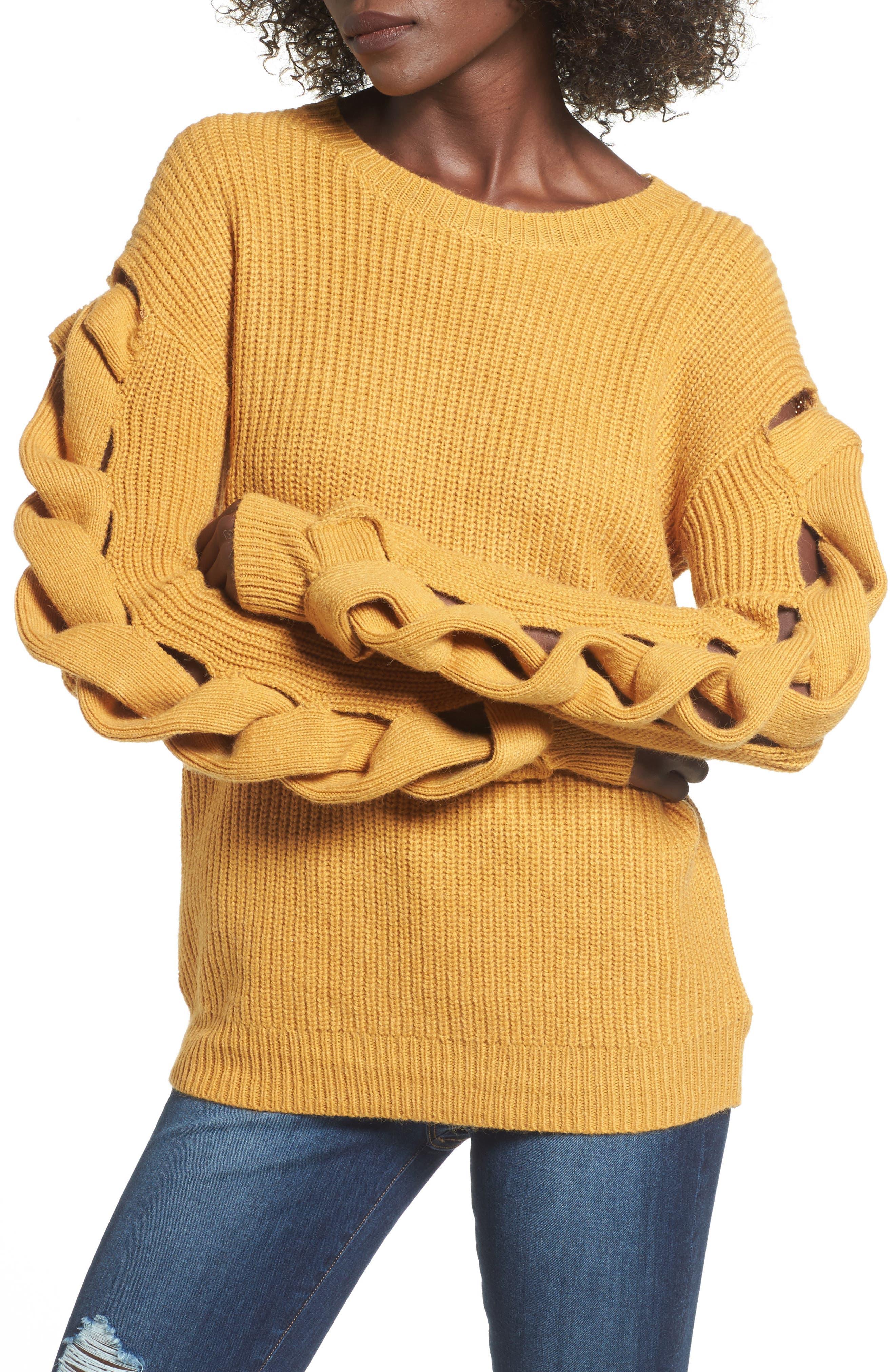 Twist Sleeve Sweater,                             Main thumbnail 2, color,