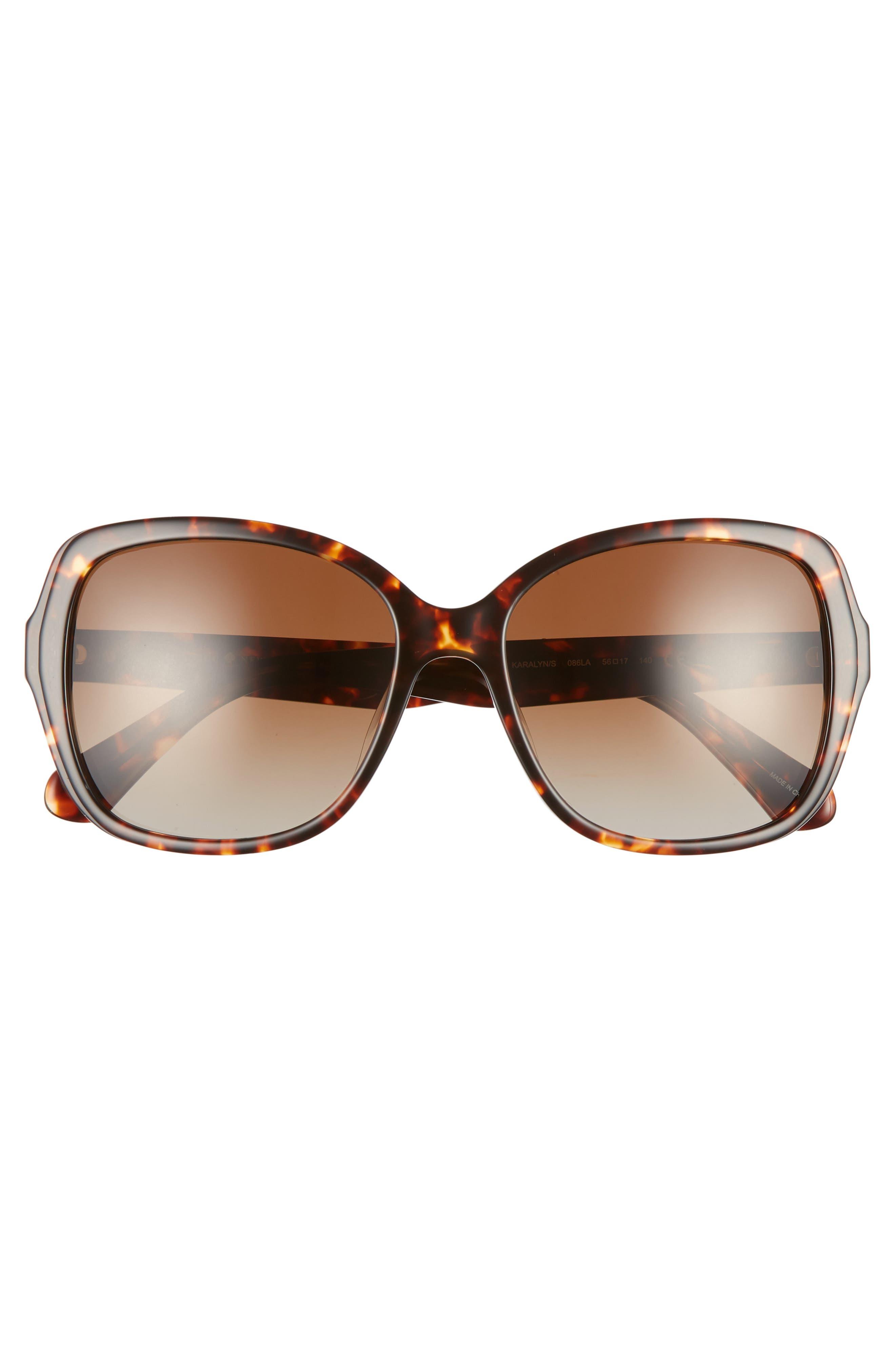 karalyns 56mm oversized sunglasses,                             Alternate thumbnail 3, color,                             DARK HAVANA