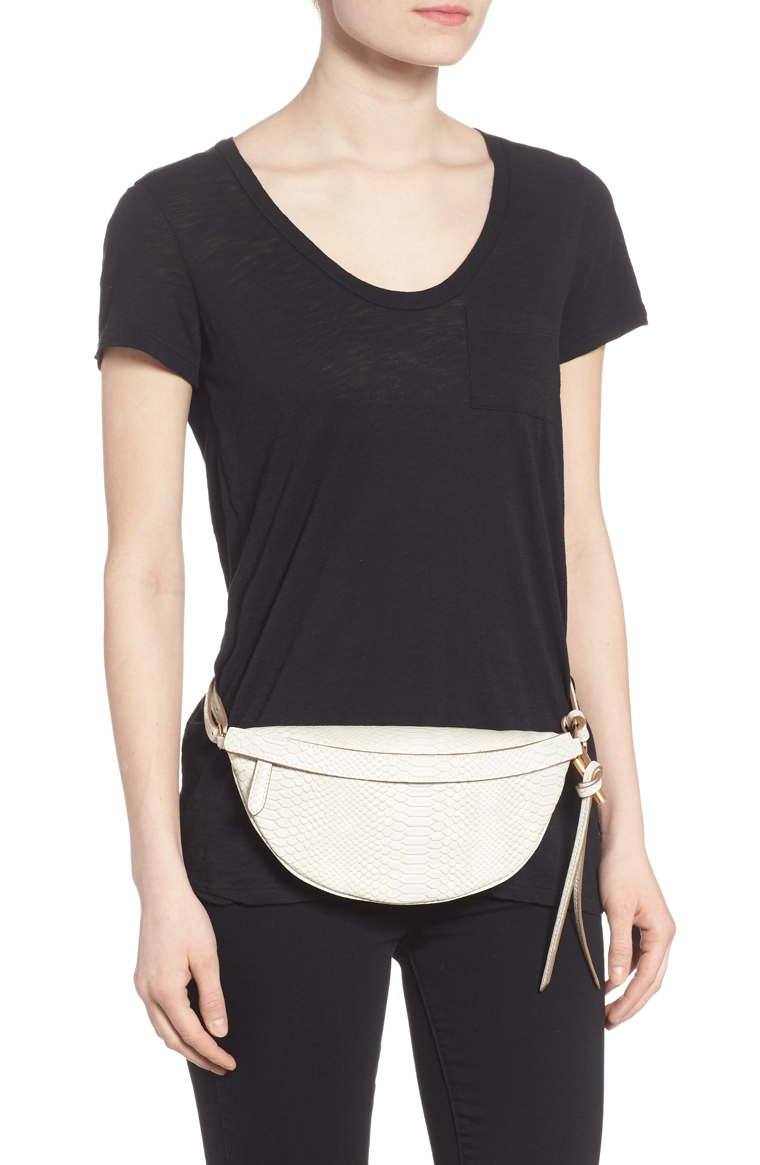Alter Snake Faux Leather Fanny Pack,                             Alternate thumbnail 2, color,                             IVORY