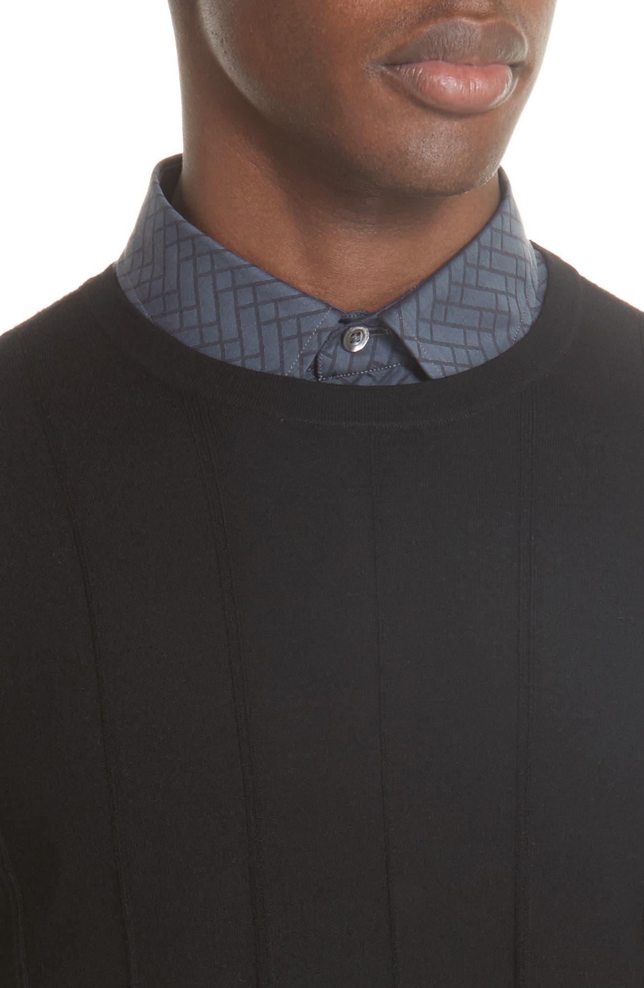 Crewneck Wool Sweater,                             Alternate thumbnail 4, color,                             BLACK