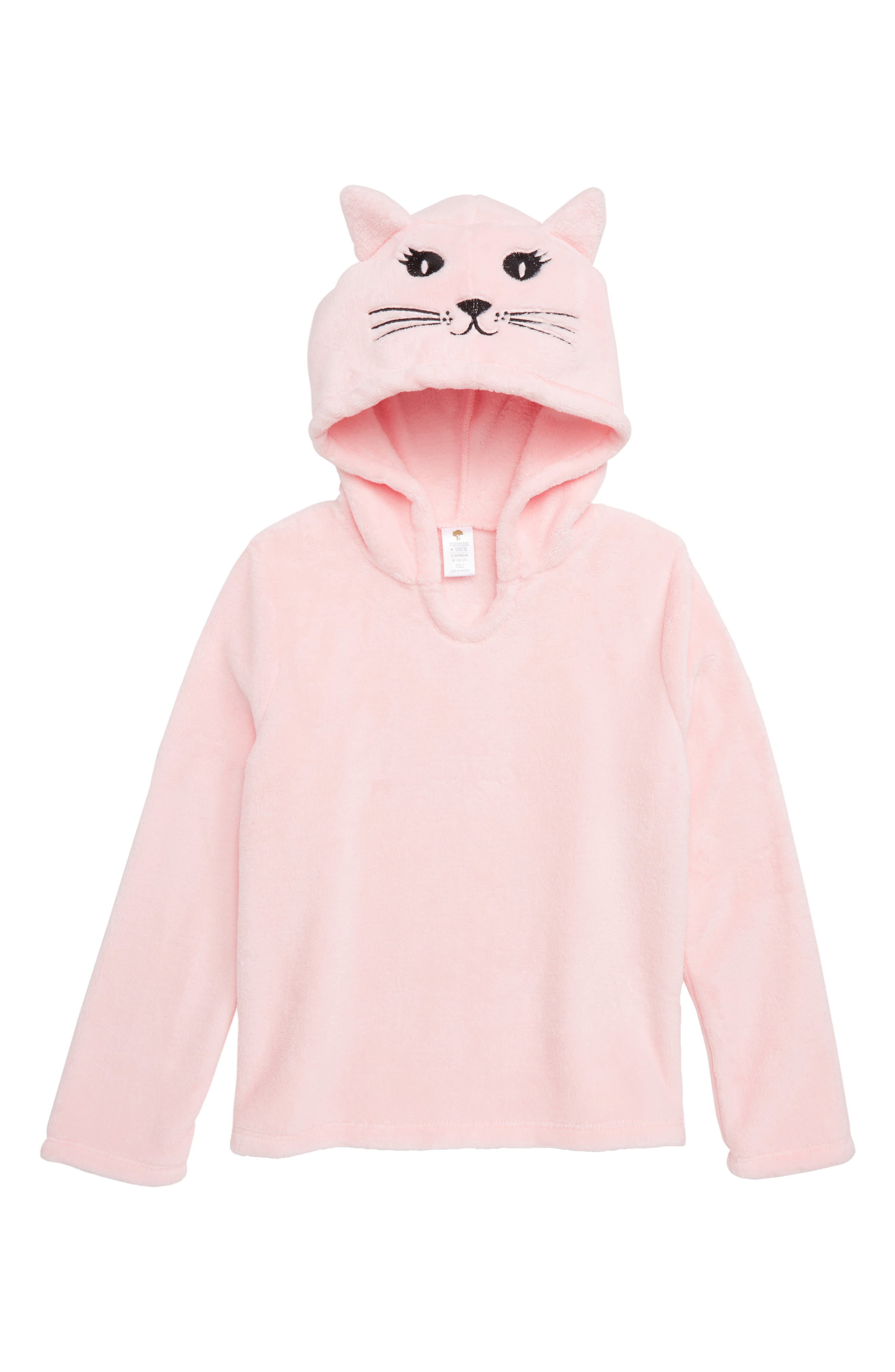 Animal Plush Fleece Pajama Hoodie,                             Main thumbnail 1, color,                             PINK BABY CAT FACE