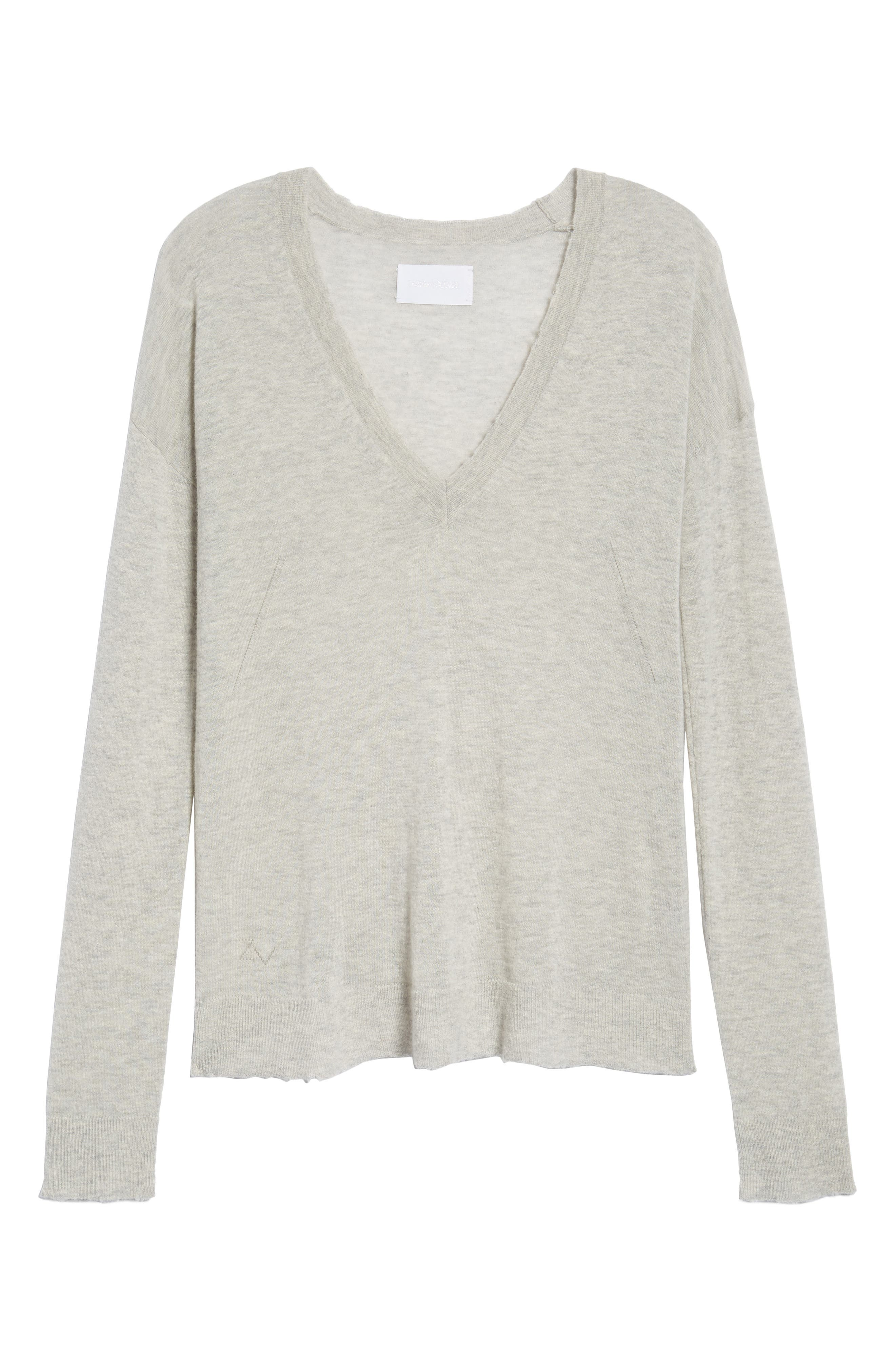 V-Neck Cashmere Sweater,                             Alternate thumbnail 6, color,                             254