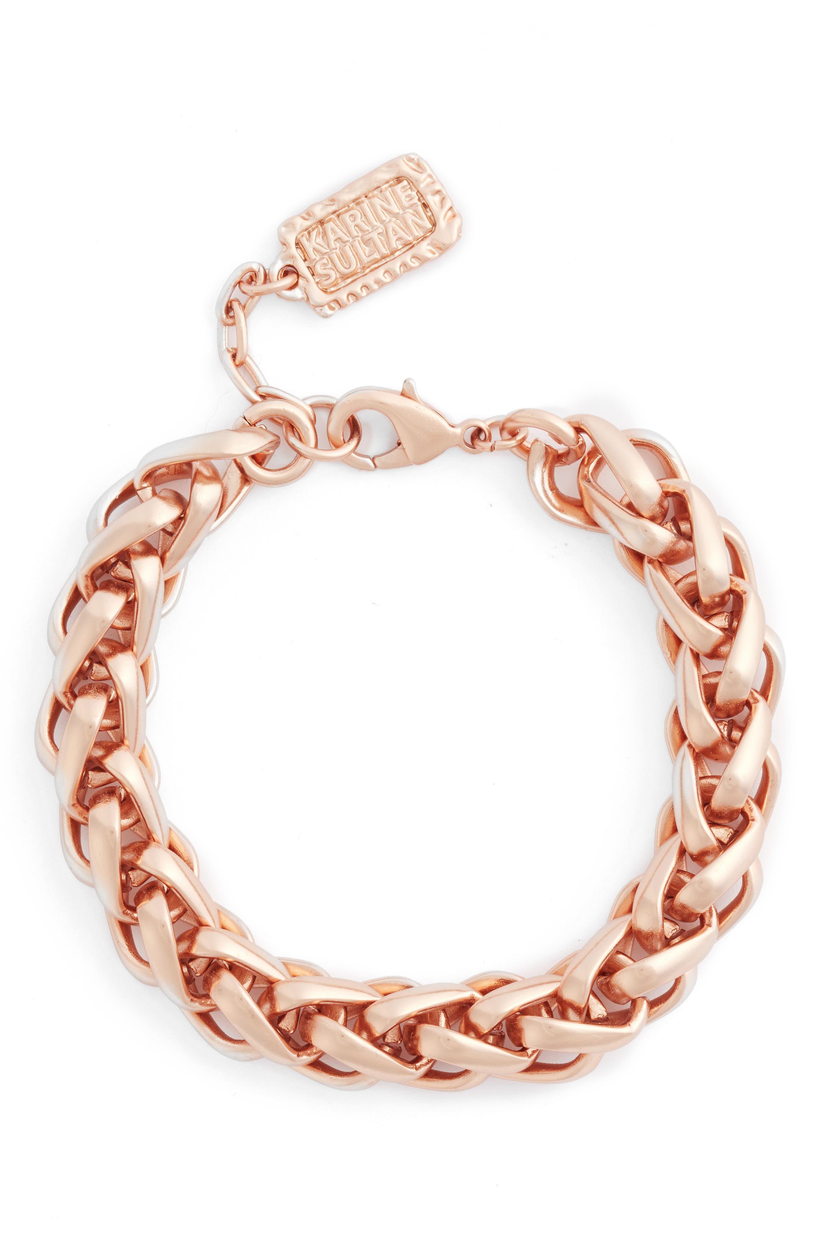 Braided Link Bracelet,                             Main thumbnail 1, color,                             ROSE GOLD