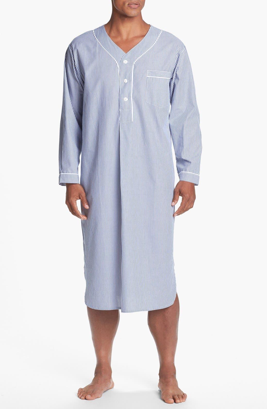 Cotton Nightshirt,                         Main,                         color, NAVY