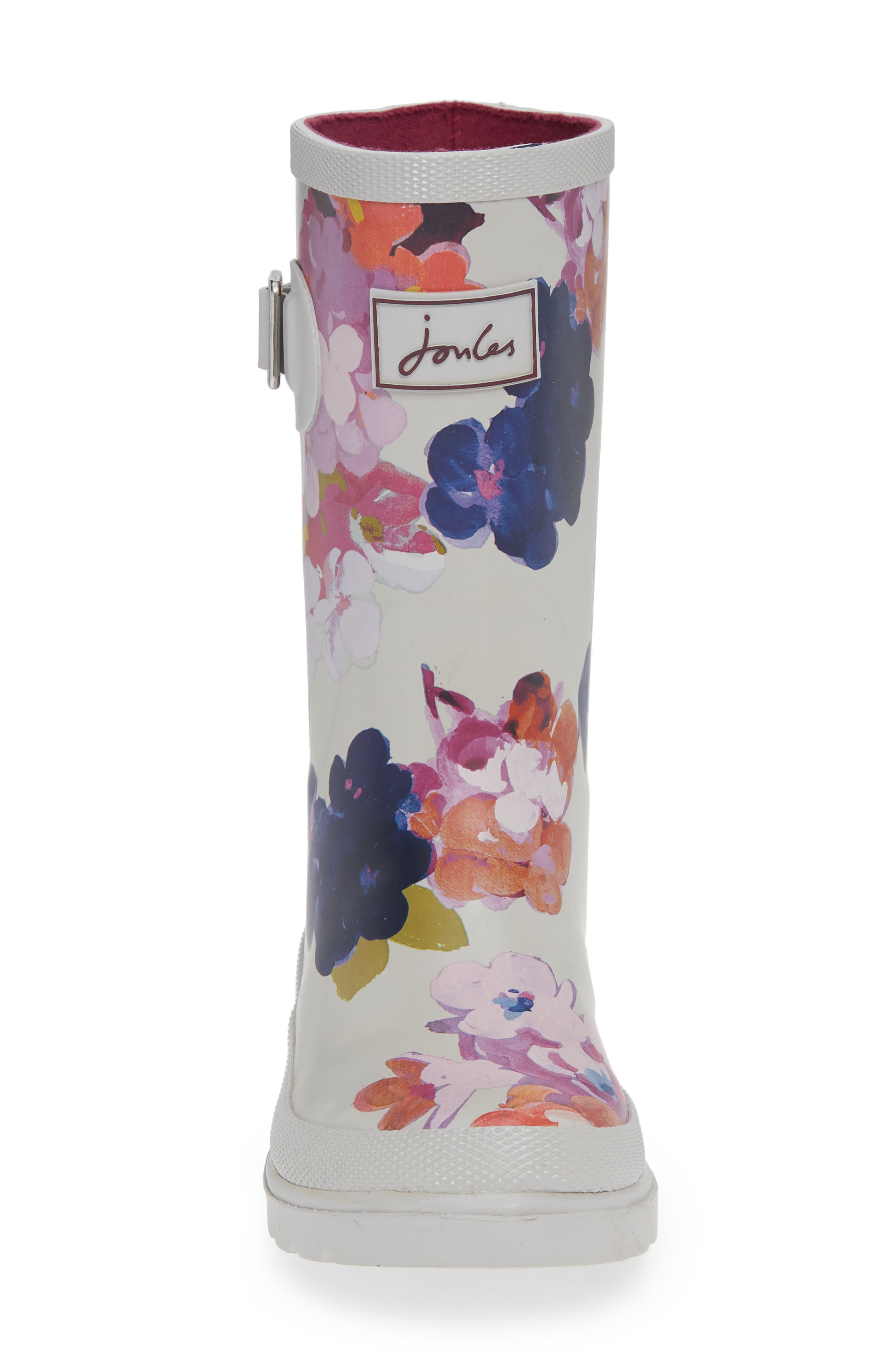 Mid Height Print Welly Waterproof Rain Boot,                             Alternate thumbnail 4, color,                             GREY PAINTED FLORAL