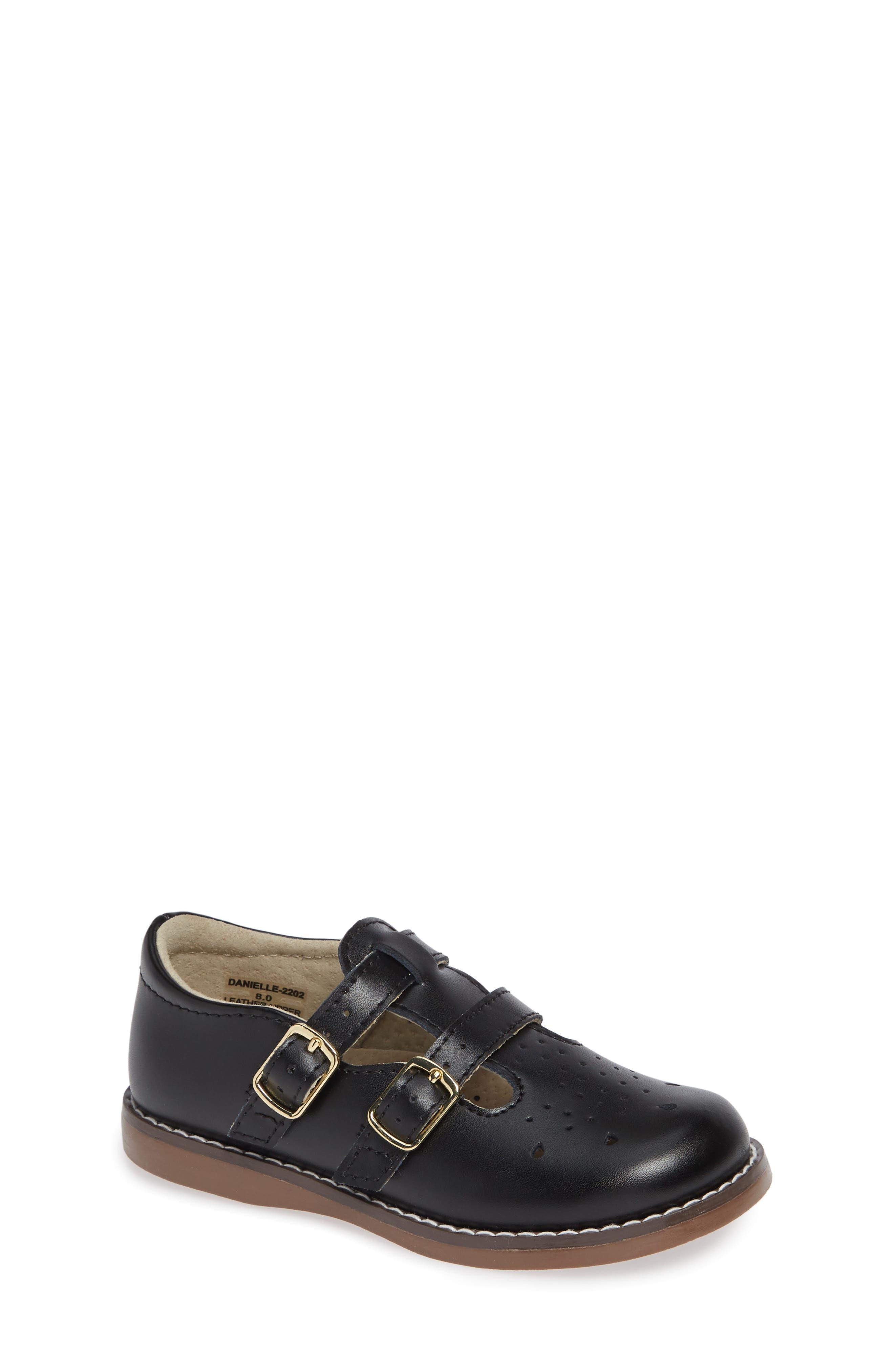 FOOTMATES,                             Danielle Double Strap Shoe,                             Main thumbnail 1, color,                             BLACK