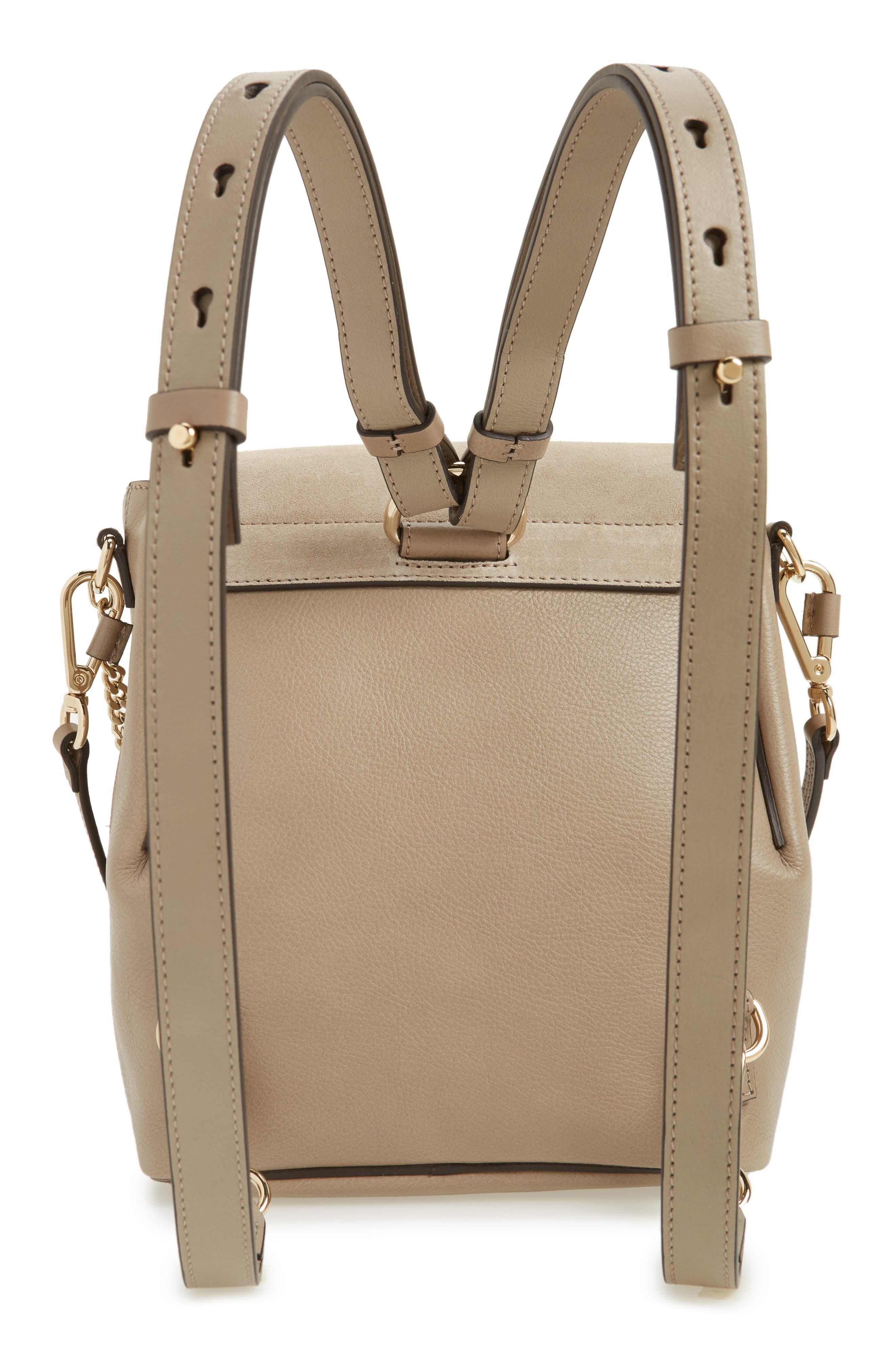 Small Faye Suede & Leather Backpack,                             Alternate thumbnail 4, color,                             MOTTY GREY
