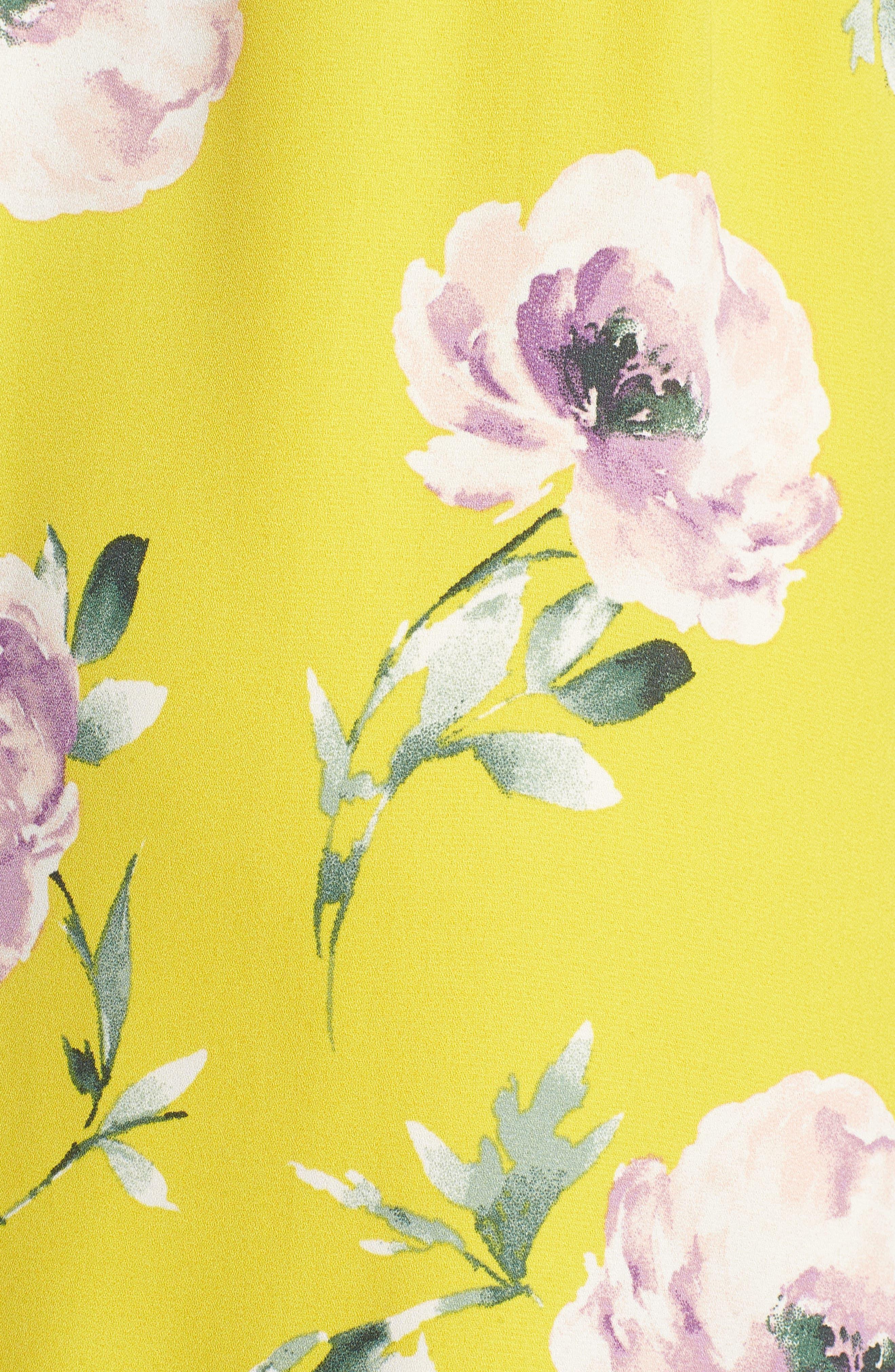 Ruffle Wrap Maxi Dress,                             Alternate thumbnail 6, color,                             YELLOW TEA BLOOM FLORAL