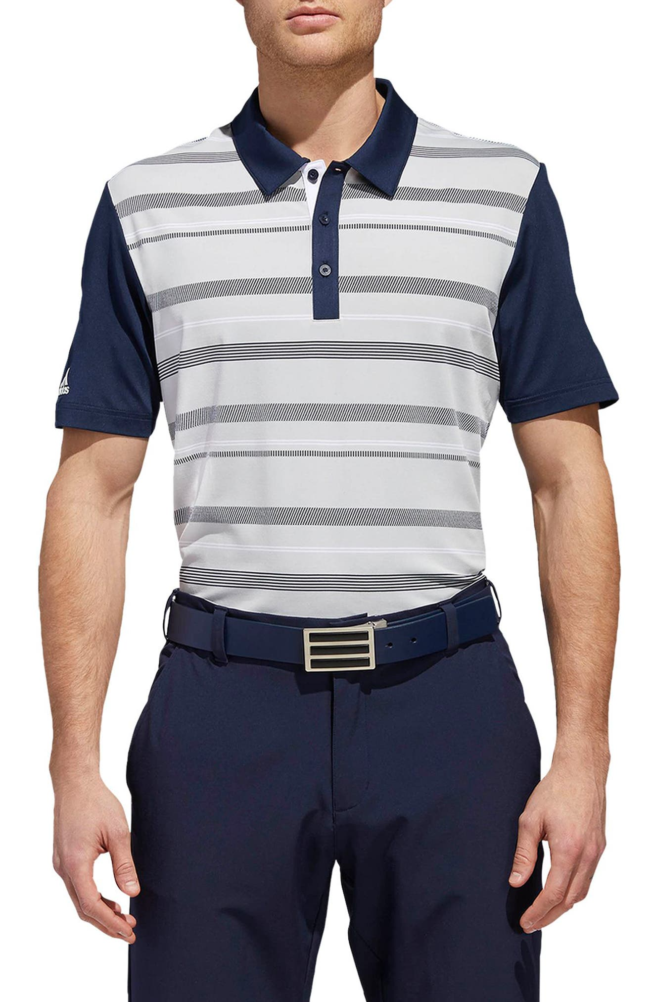 adidas Ultimate Stripe Regular Fit Polo Shirt,                         Main,                         color, GREY/ NAVY