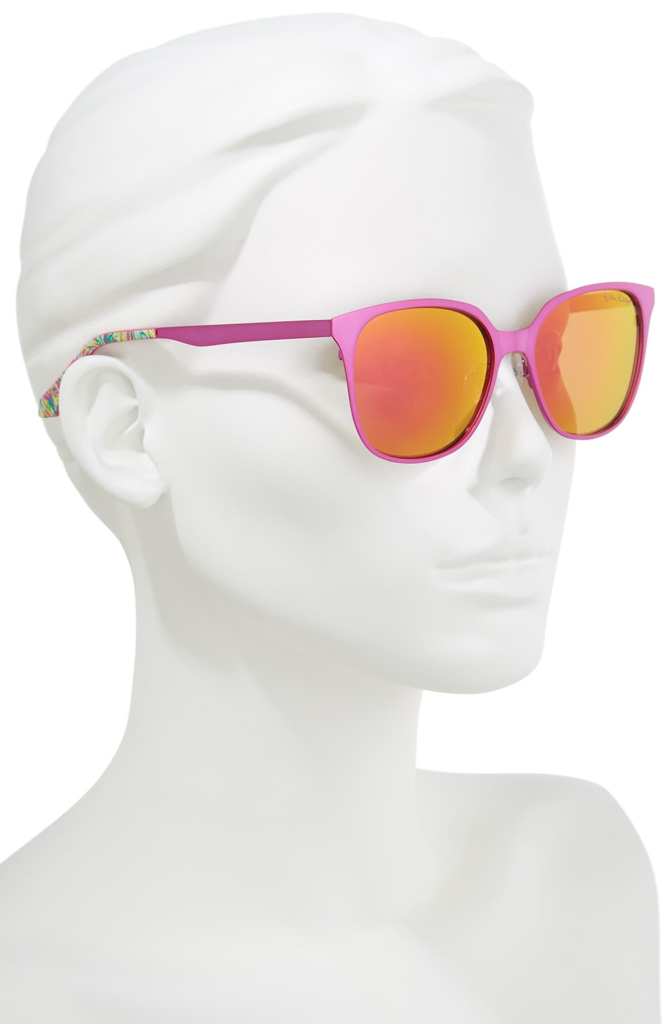 Landon 54mm Polarized Sunglasses,                             Alternate thumbnail 2, color,                             PINK/ PINK