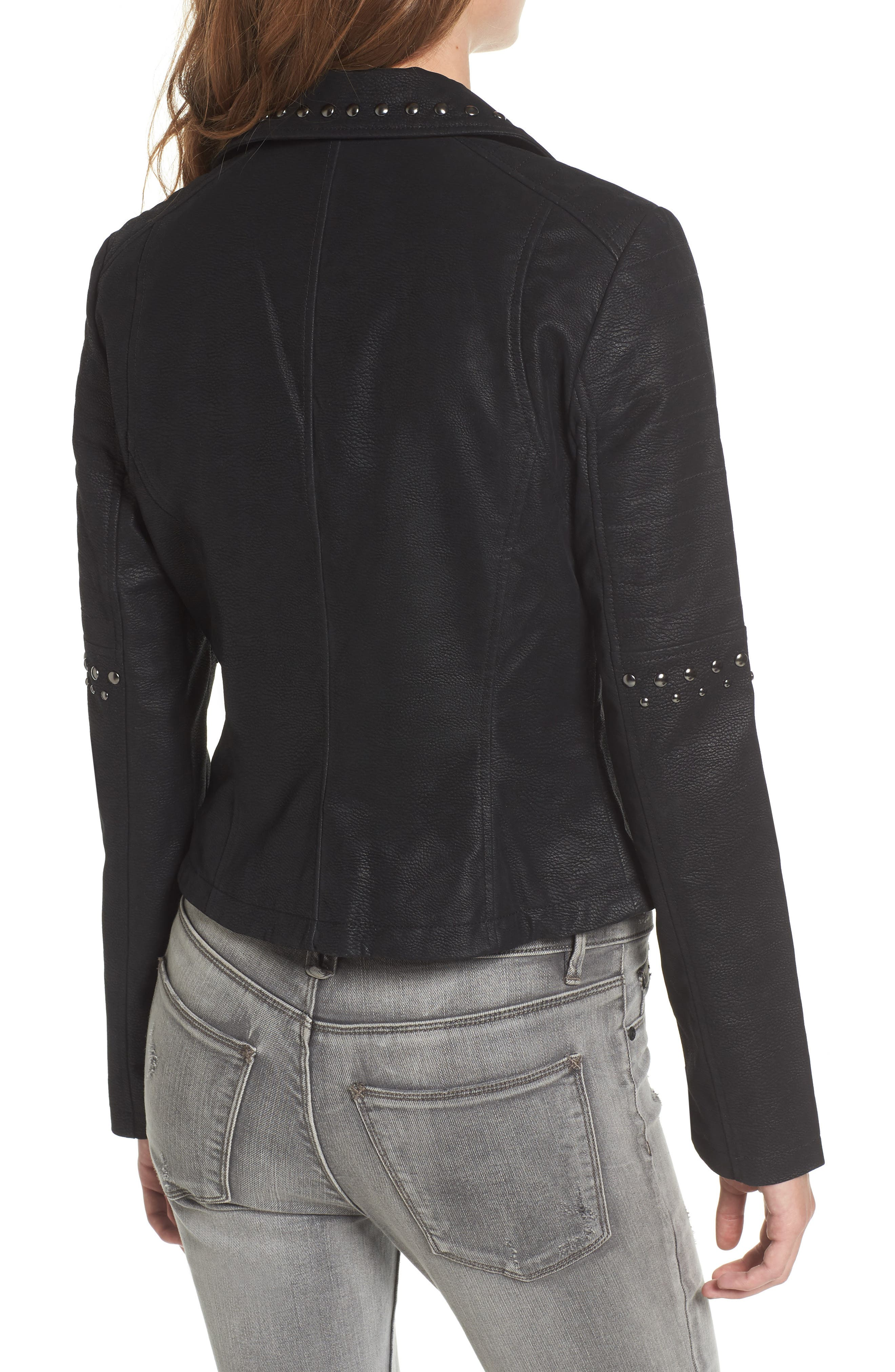 Studded Faux Leather Moto Jacket,                             Alternate thumbnail 2, color,                             001