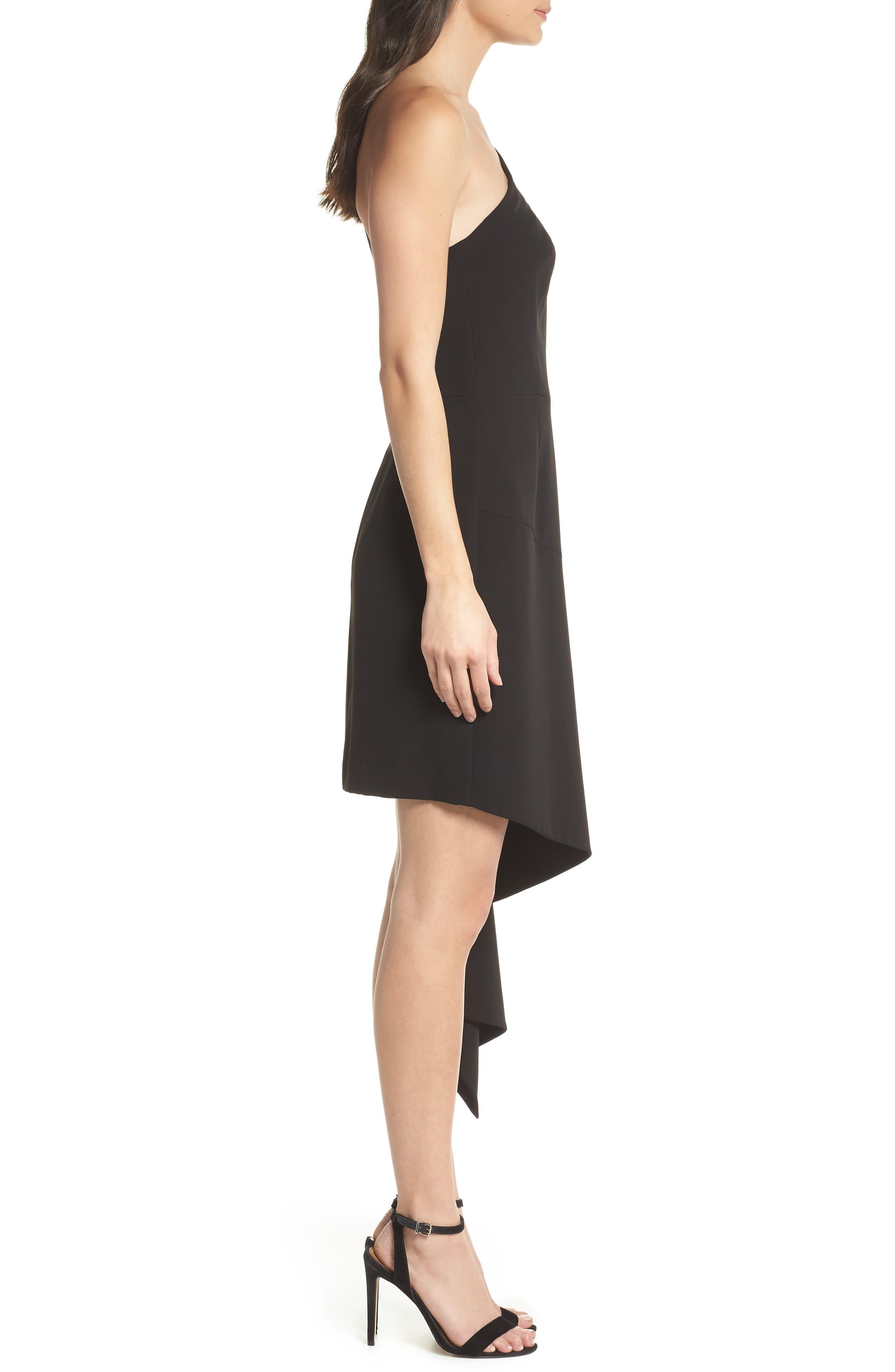 CLOVER AND SLOANE,                             One-Shoulder Asymmetric Dress,                             Alternate thumbnail 3, color,                             001